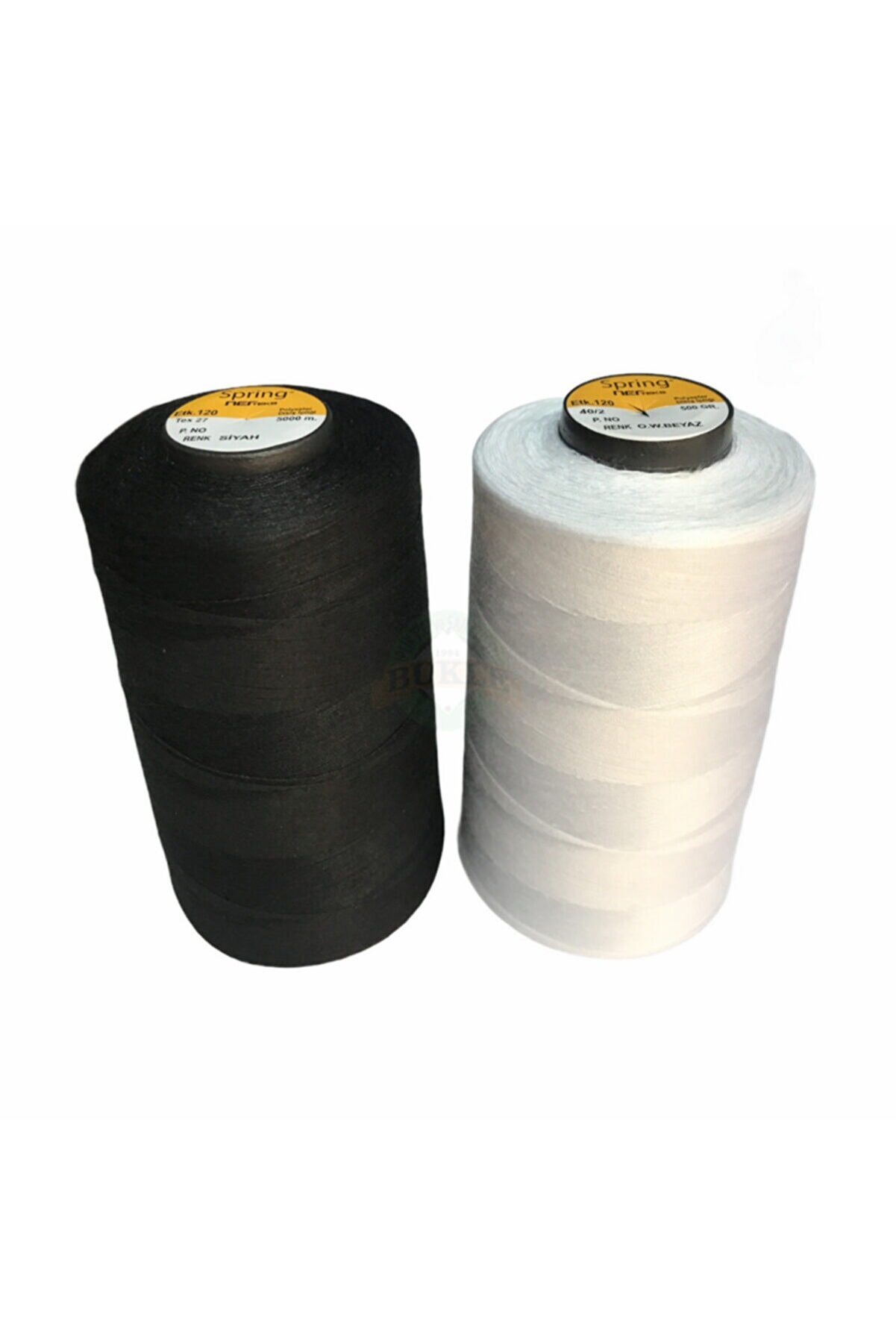 SPRİNG 120 No 5000 Mt Siyah Ve Beyaz Polyester Dikiş Ipliği (2 ADET)