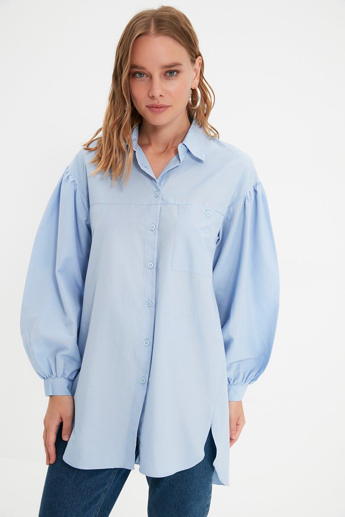 TRENDYOL MODEST Açık Mavi Balon Kol Gömlek Yaka Tesettür Tunik TCTSS21GO0976