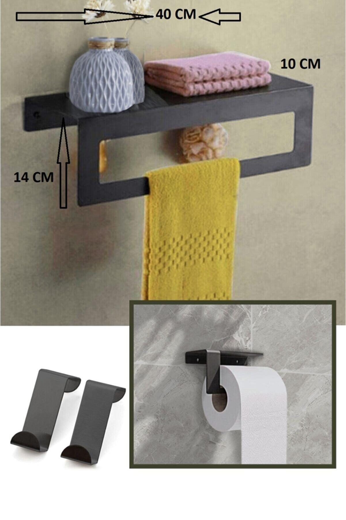 hobi demir sanat Metal Havluluk Arkası Askılı Ve Tuvalet Kağıdı Tutucu  Set  2 li