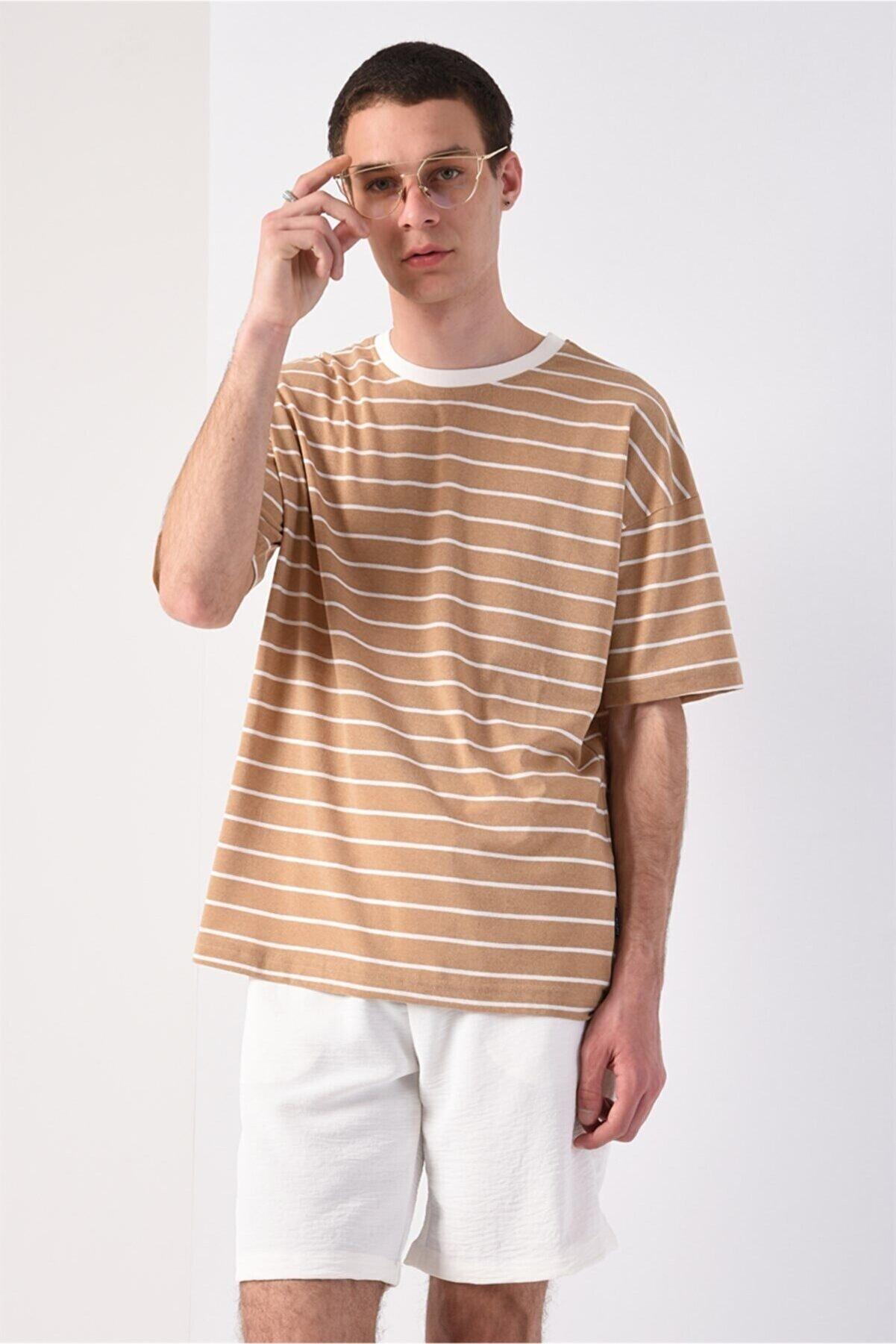 Antioch Men Bej Oversize Çizgili T-shirt