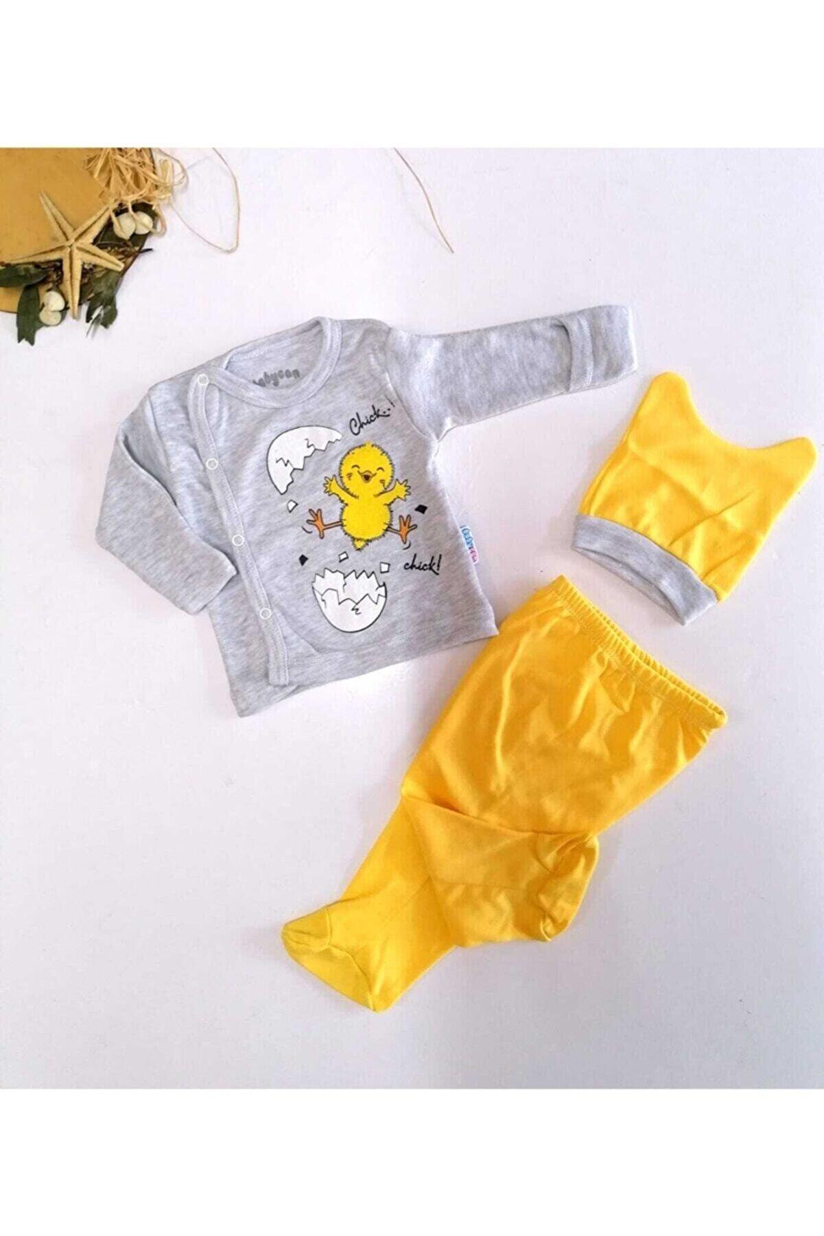 Babycan Unisex Bebek Gri Kendinden Eldivenli 3 Lü Civciv Takım