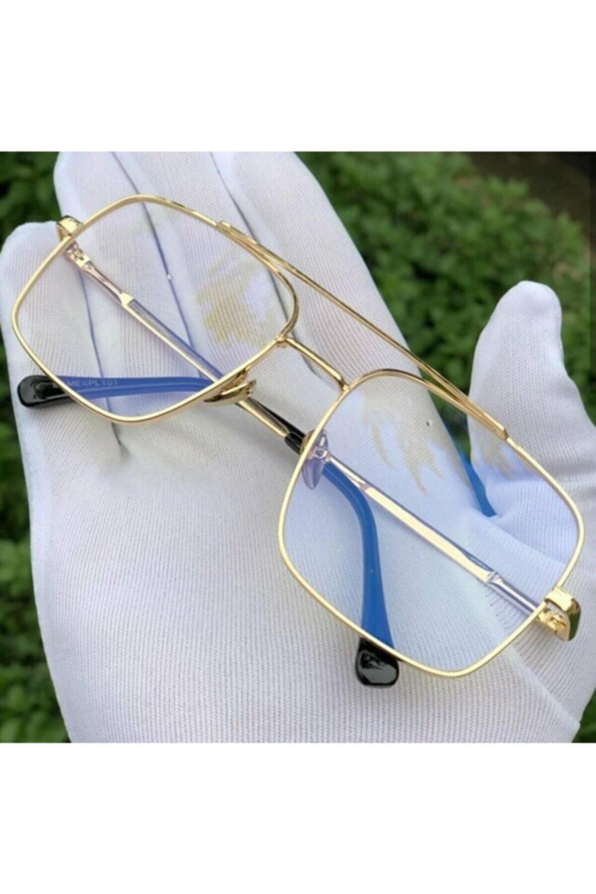 BLUE MOON GLASSES Reynmen Model Şeffaf Cam Gold Çerçeveli Uv400 Korumalı Pilot Güneş Gözlüğü