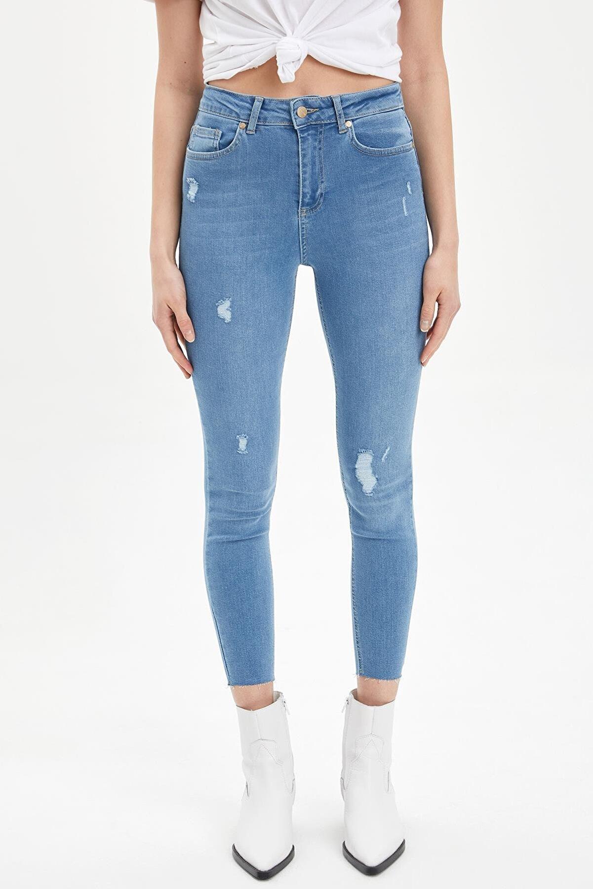 Defacto Anna Ankle Super Skinny Fit Yırtık Detaylı Jean Pantolon