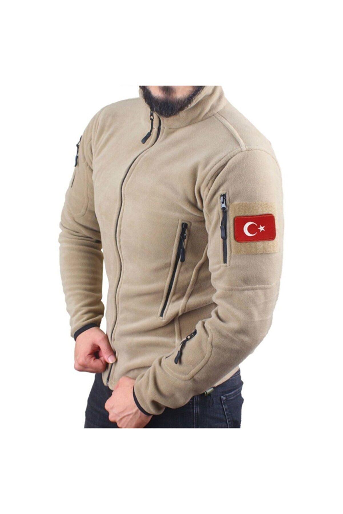Silyon Askeri Giyim Askeri Tip Taktik Polar Mont Çöl Renk Ve Türk Bayrağı Peç