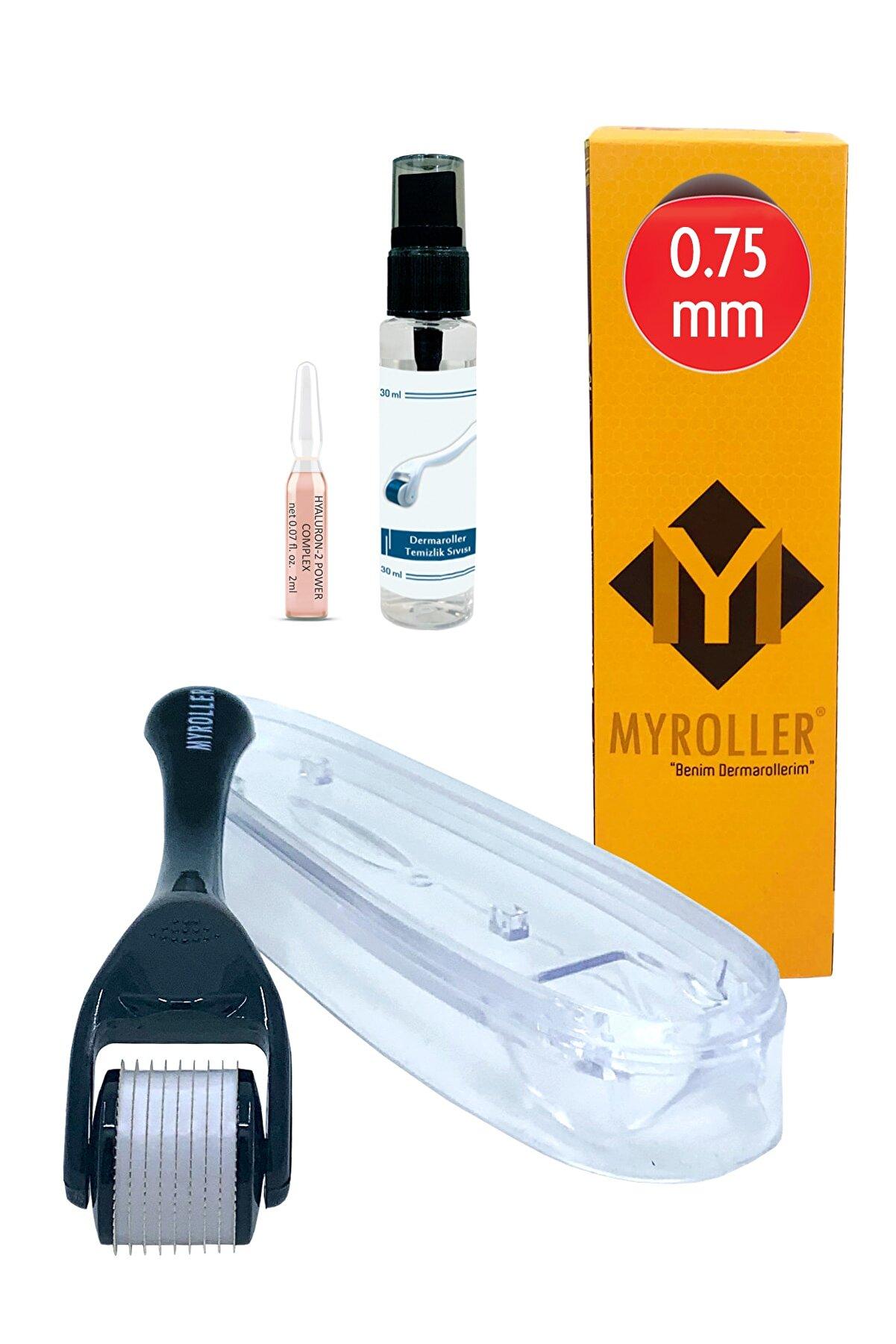Myroller Dermaroller 0.75mm + Nemlendirici Ampul + Dezenfektan Seti Titanyum 540 Derma Roller Saç Cilt Yüz