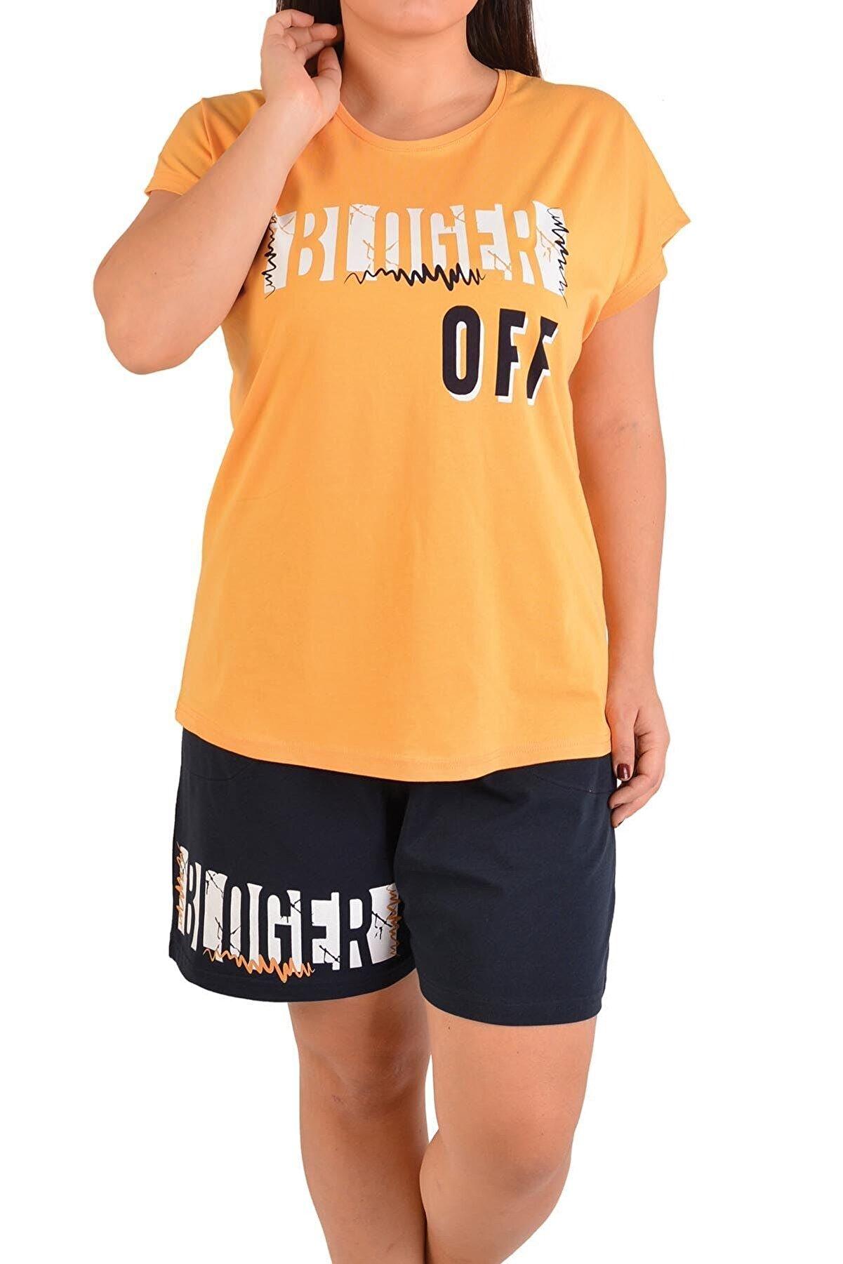 Nicoletta Sarı Kadın Şortlu Pijama Takımı Kısa Kollu Büyük Beden Cepli Likralı