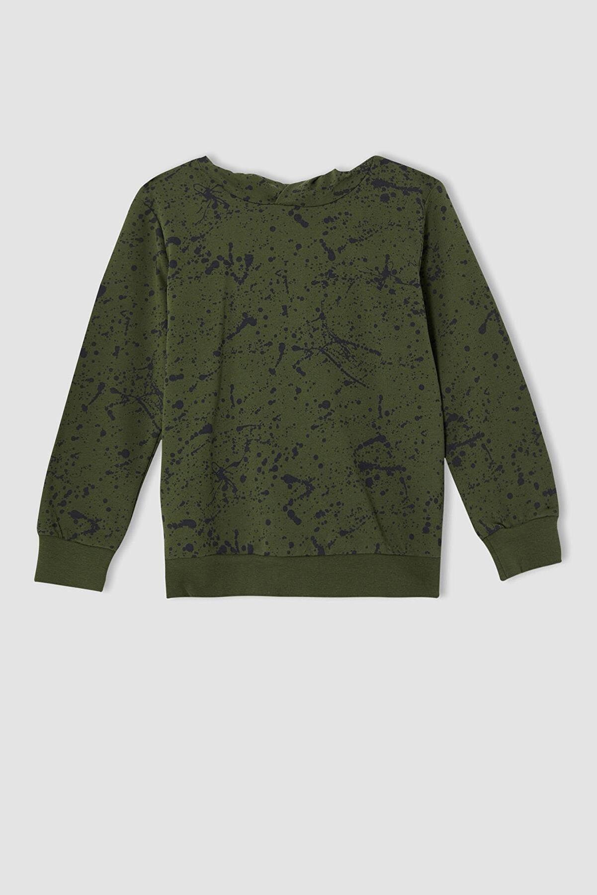 Defacto Erkek Çocuk Yeşil Sıçratma Desenli Kapüşonlu Sweatshirt