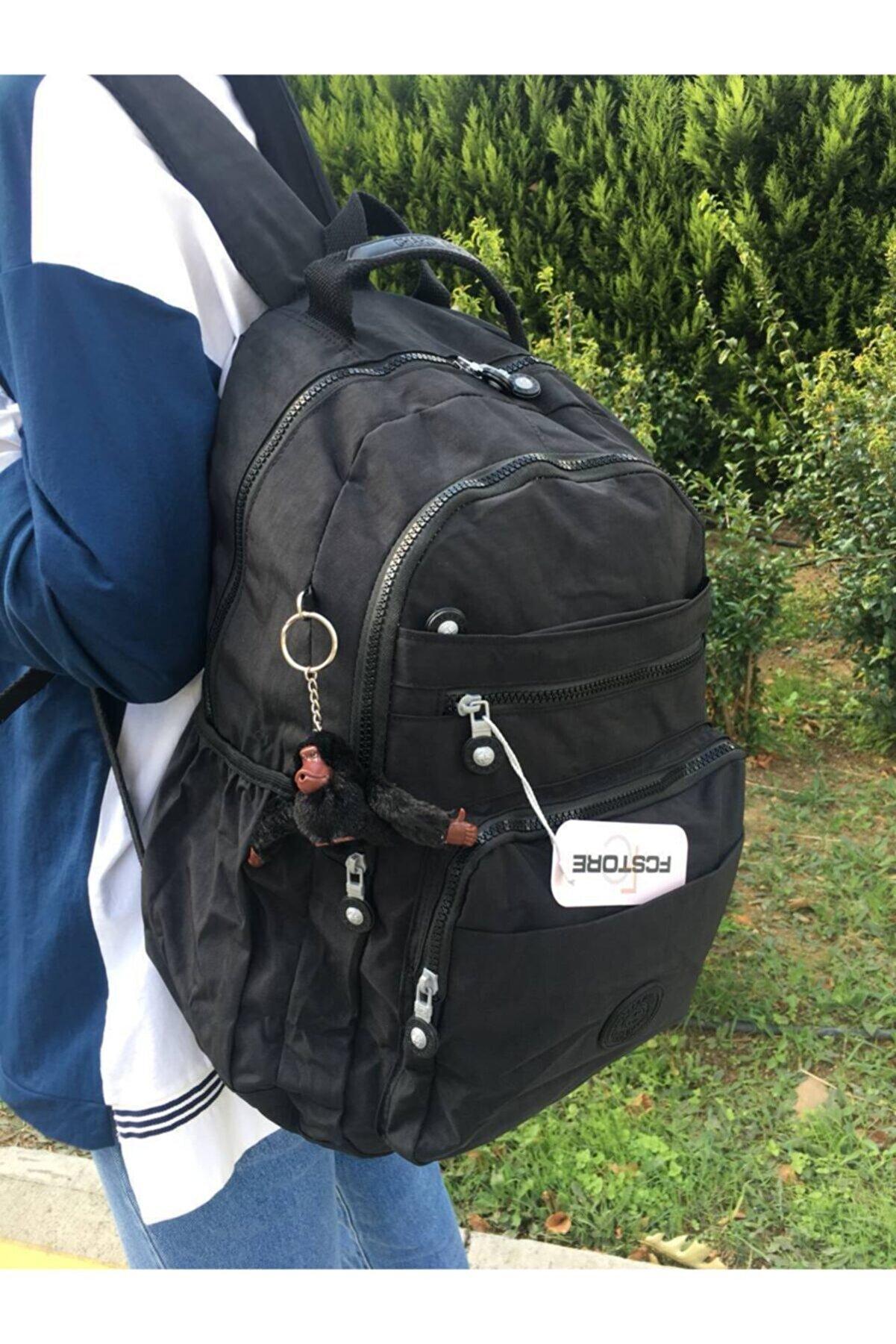 MORCA Fcstore Krinkıl Kumaş Suya Dayanıklı Büyük Boy Siyah Klinkır Sırt Çantası/laptop Seyahat Okul Çanta
