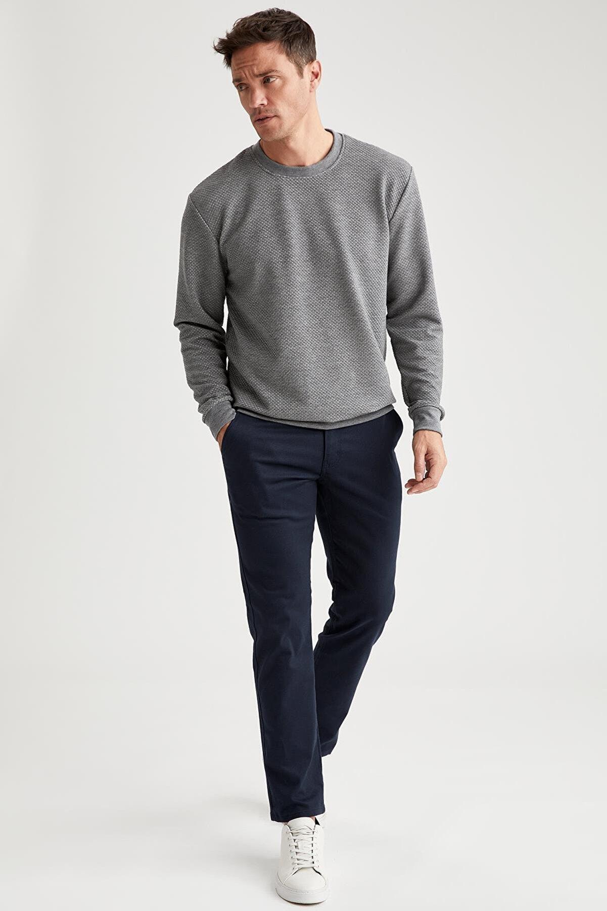Defacto Erkek Lacivert Regular Fit Basic Chino Pantolon T1052AZNSNV12