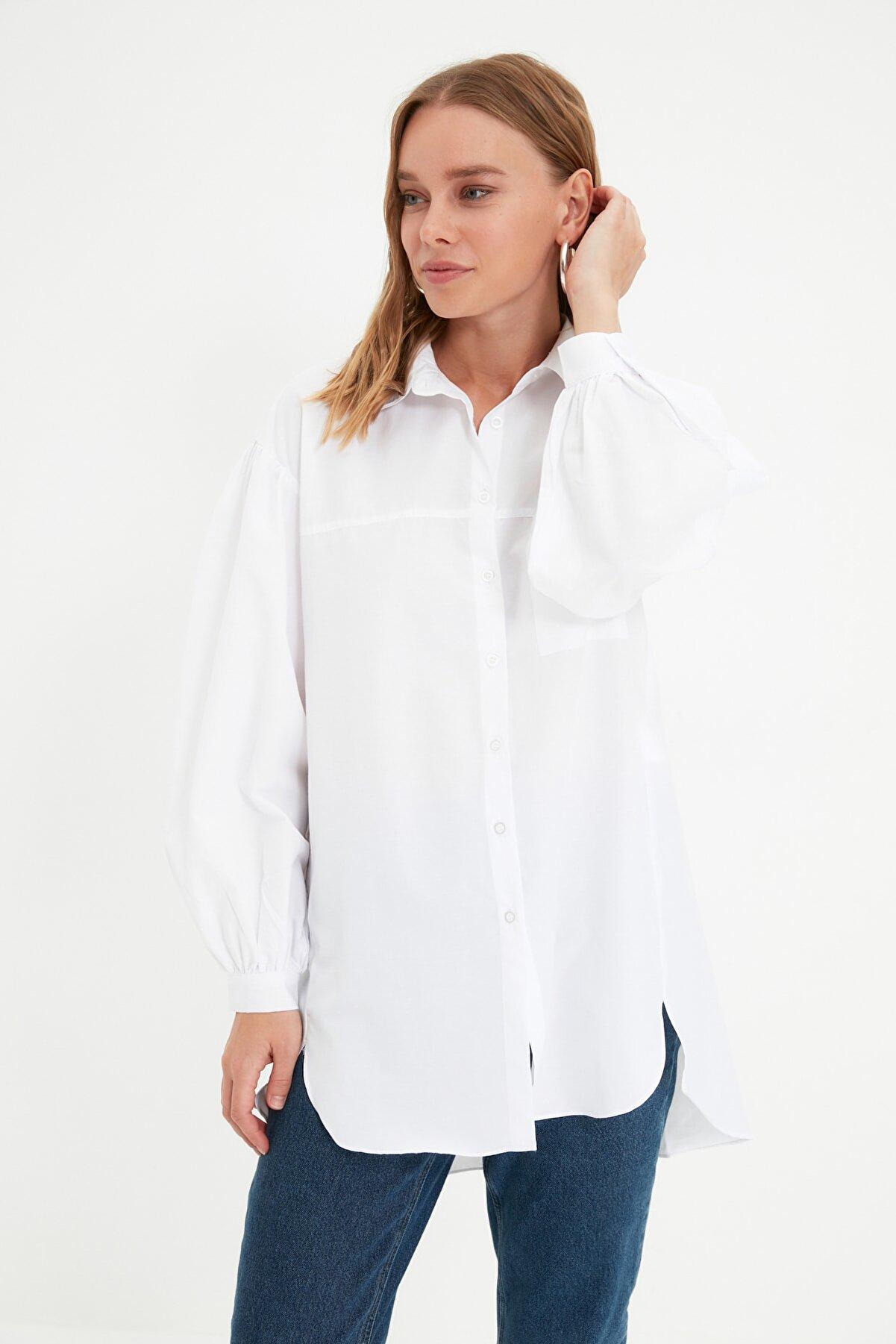 TRENDYOL MODEST Beyaz Balon Kol Gömlek Yaka Tesettür Tunik TCTSS21GO0976