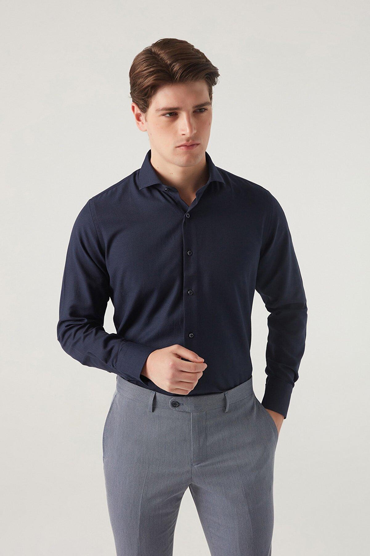 D'S Damat Slim Fit Lacivert Renk Erkek Gömlek