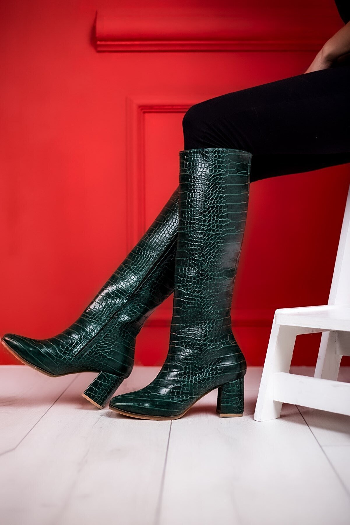 Eşle 20k Holy Kadın Çizme Yeşil Kroko