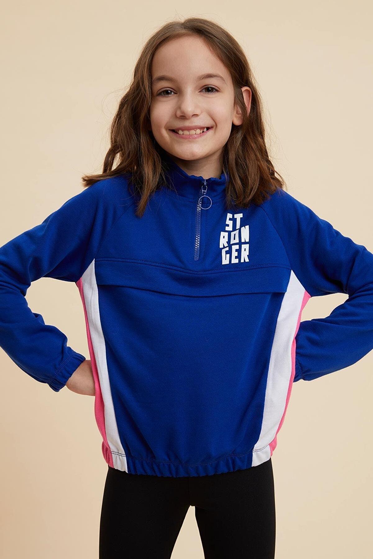 Defacto Kız Çocuk Renk Bloklu Sweatshirt
