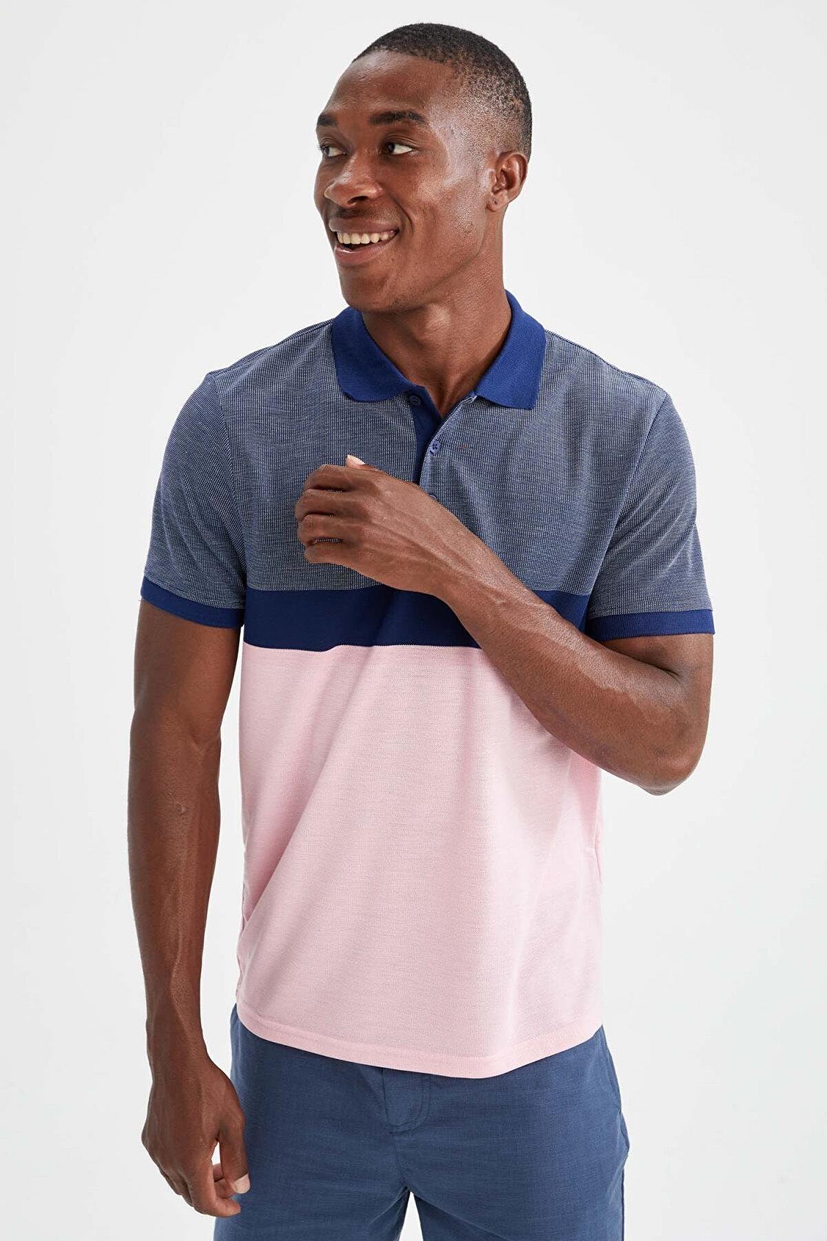 Defacto Regular Fit Polo Yaka Renk Bloklu Kısa Kollu Tişört