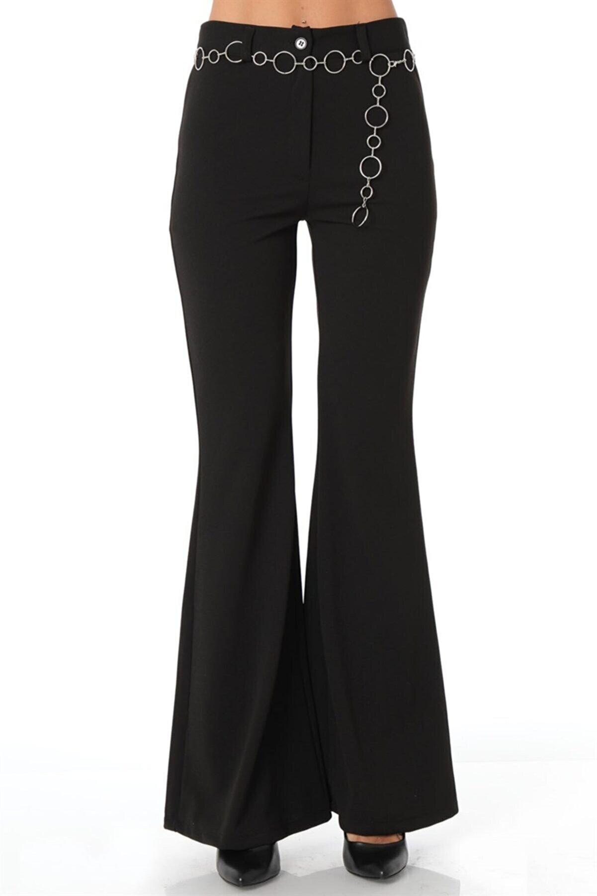 ZİNCiRMODA Ispanyol Paça Zincir Aksesuarlı Kumaş Pantolon - Siyah