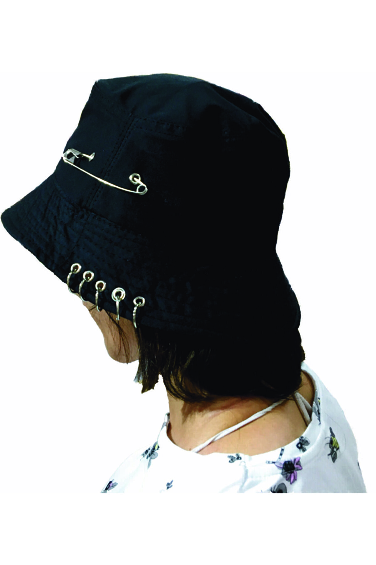 NO NAME Kpop Piercingli Iğneli Balıkçı Şapka