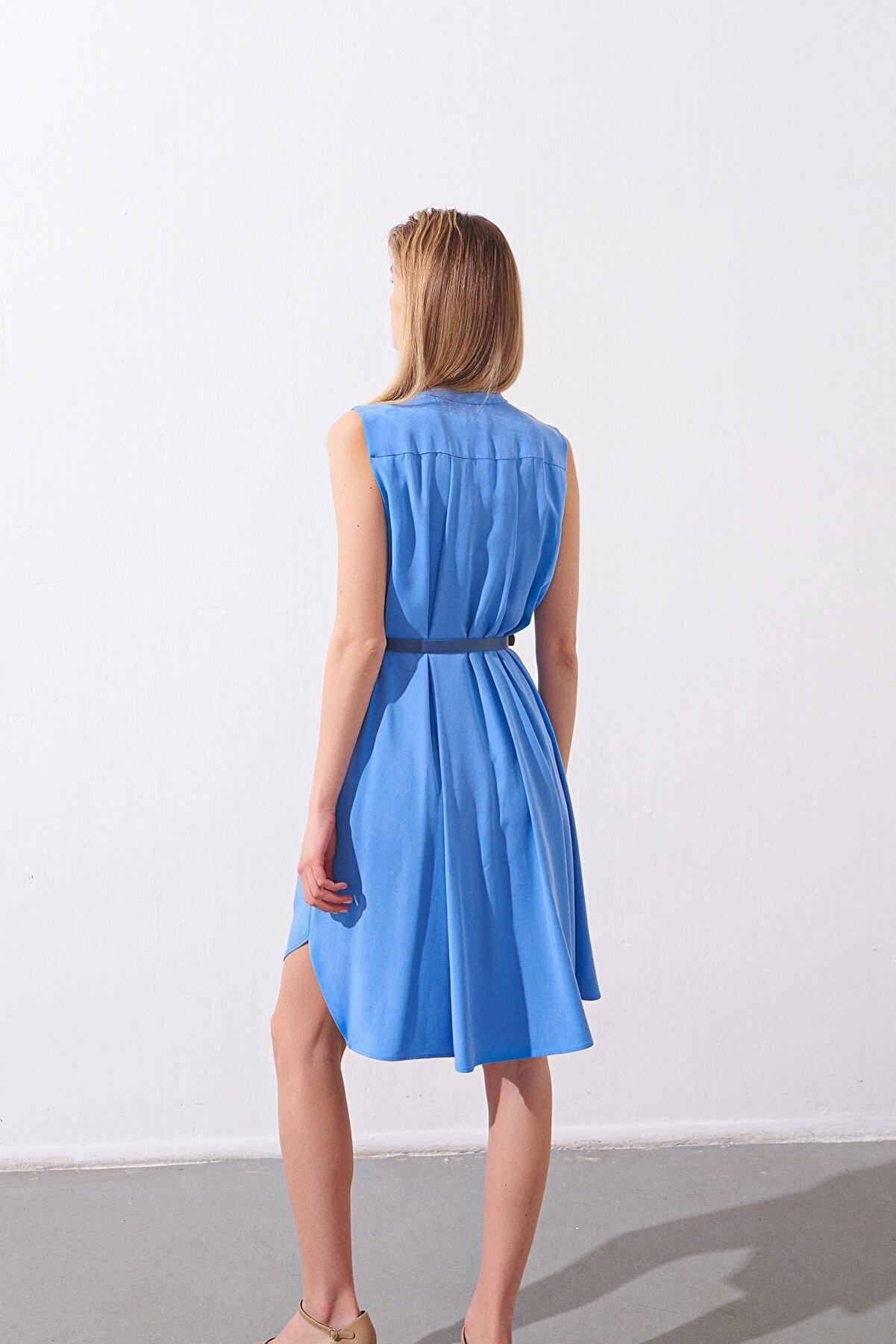 Rue Kemerli Fırfırlı Mavi Mini Gömlek Elbise