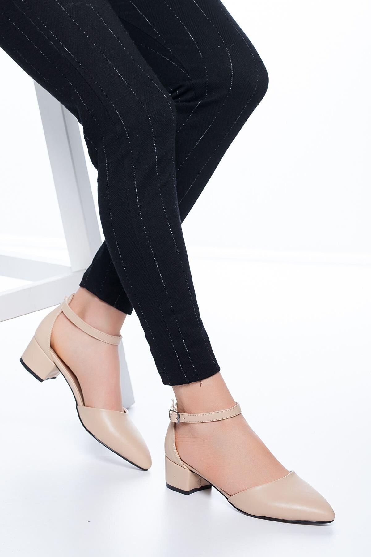 MaskButik Kadın Ten Dulgina Topuklu Cilt Ayakkabı