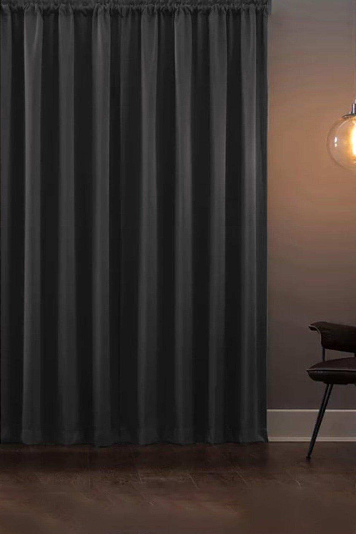 Asper Blackout Işık Geçirmez Fon Perde V-14 Füme Pilesiz Ekstraforlu Karartma Güneşlik