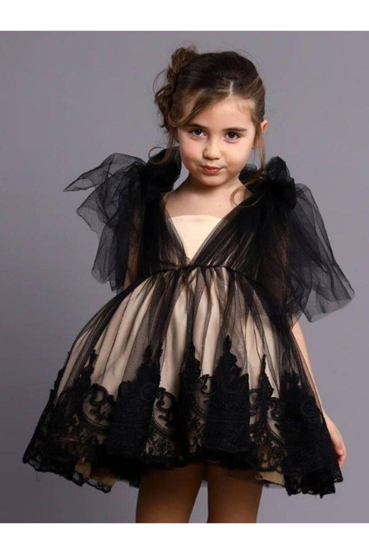 Riccotarz Kız Çocuk Bej Siyah Elegan Tüllü Abiye Elbise