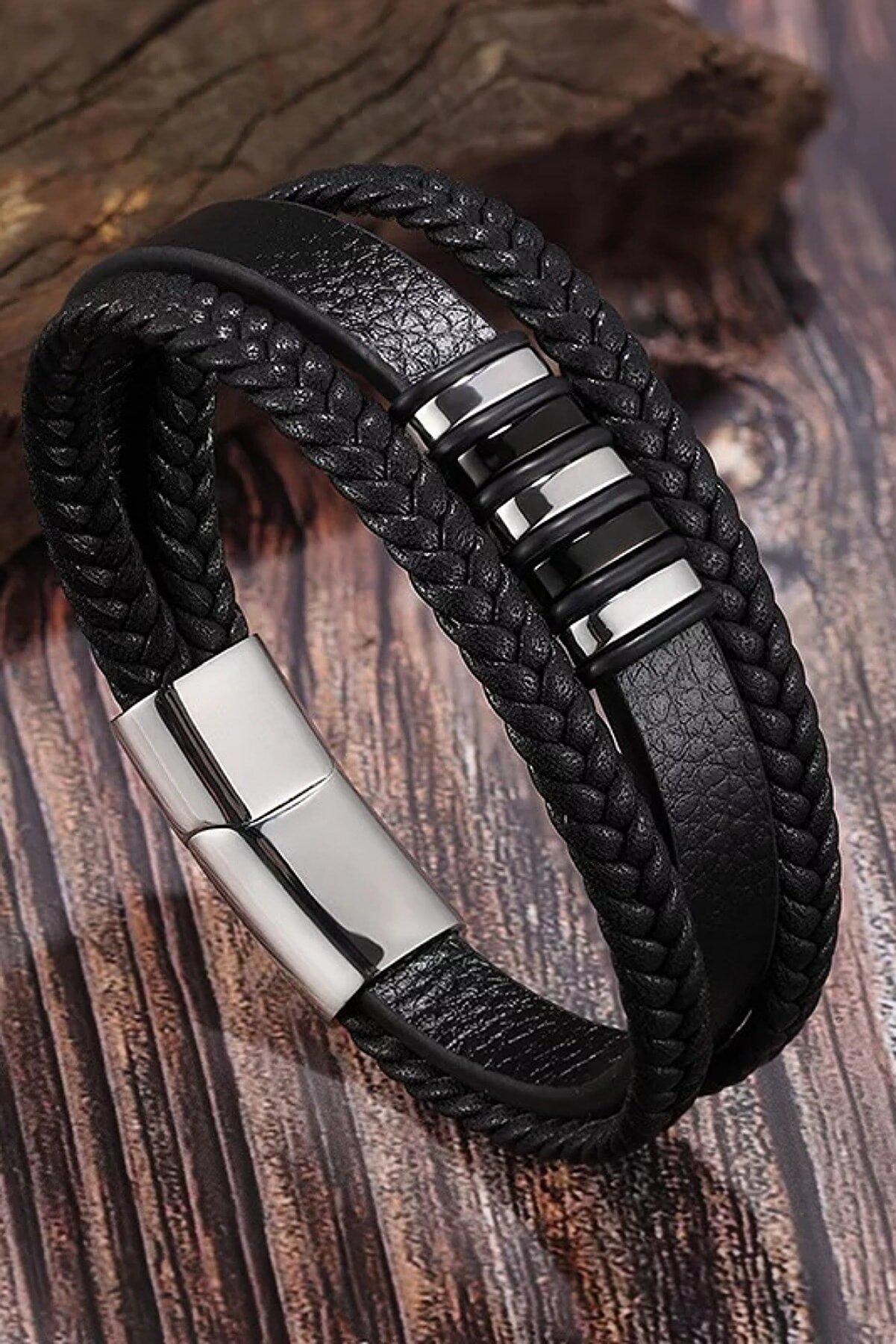 Gogoey Erkek Bileklik Hakiki Deri - Siyah Silver Hasır Örme Şık Modern