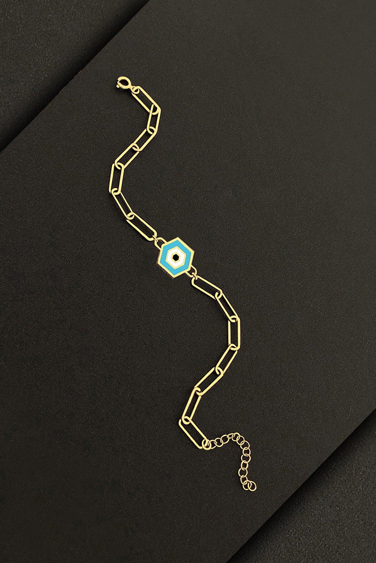 ROXX THE JEWELLRY 925 Gümüş Italyan Kadın Göz Bileklik Gold