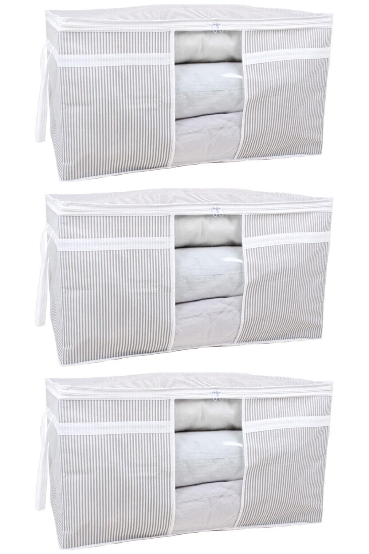 ESTİ 3 Adet - Pencereli Yastık Yorgan Hurcu 75 X 40 X 40 Cm