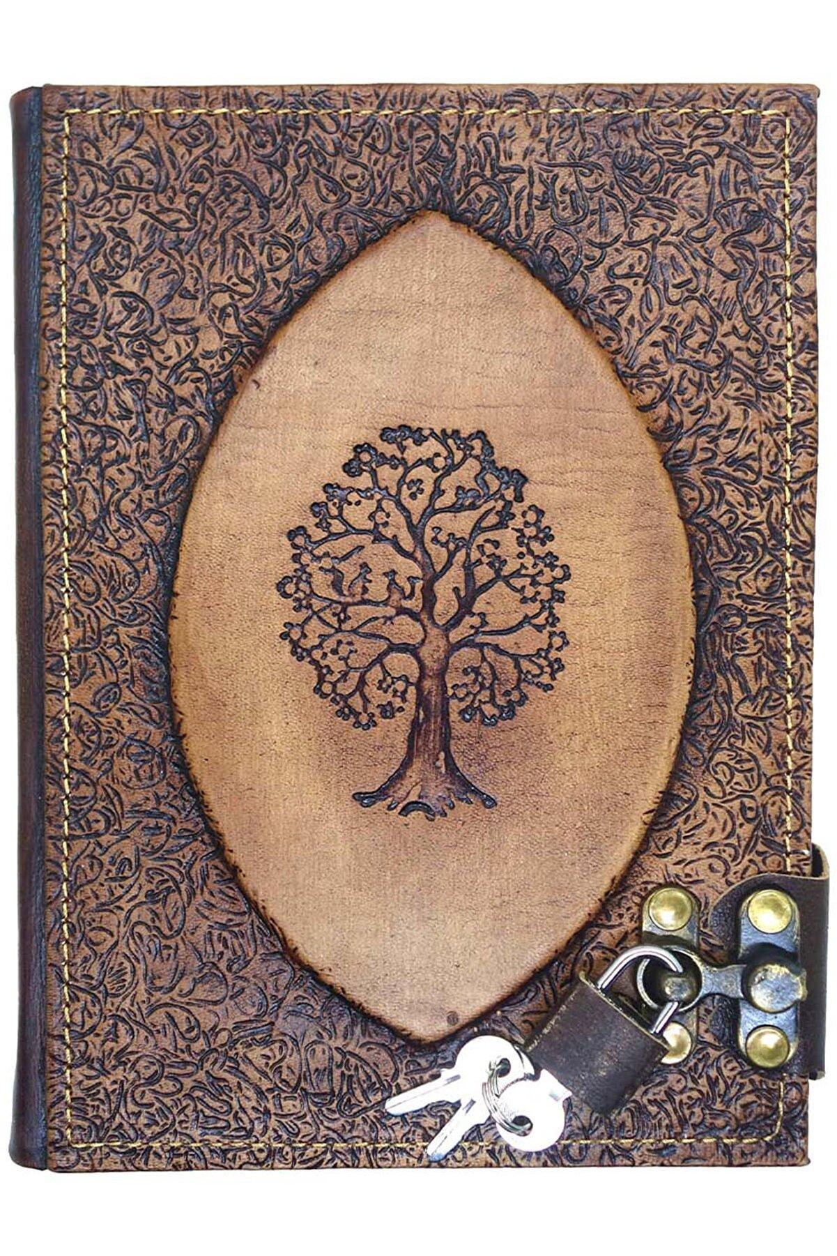 Notopelle Hayat Ağacı (Sırdaş) Kilitli Deri Defter
