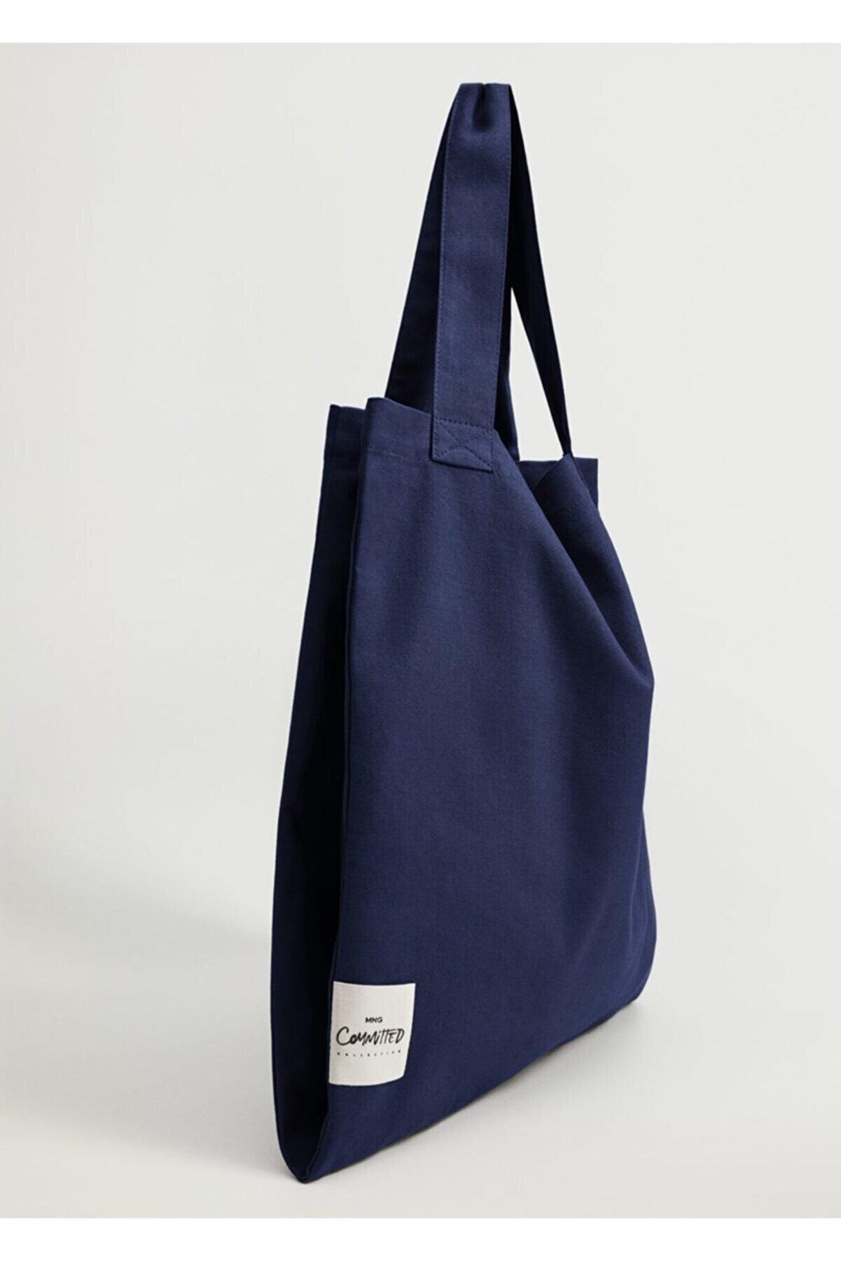 Mango Kadın Mavi Pamuklu Shopper Çanta
