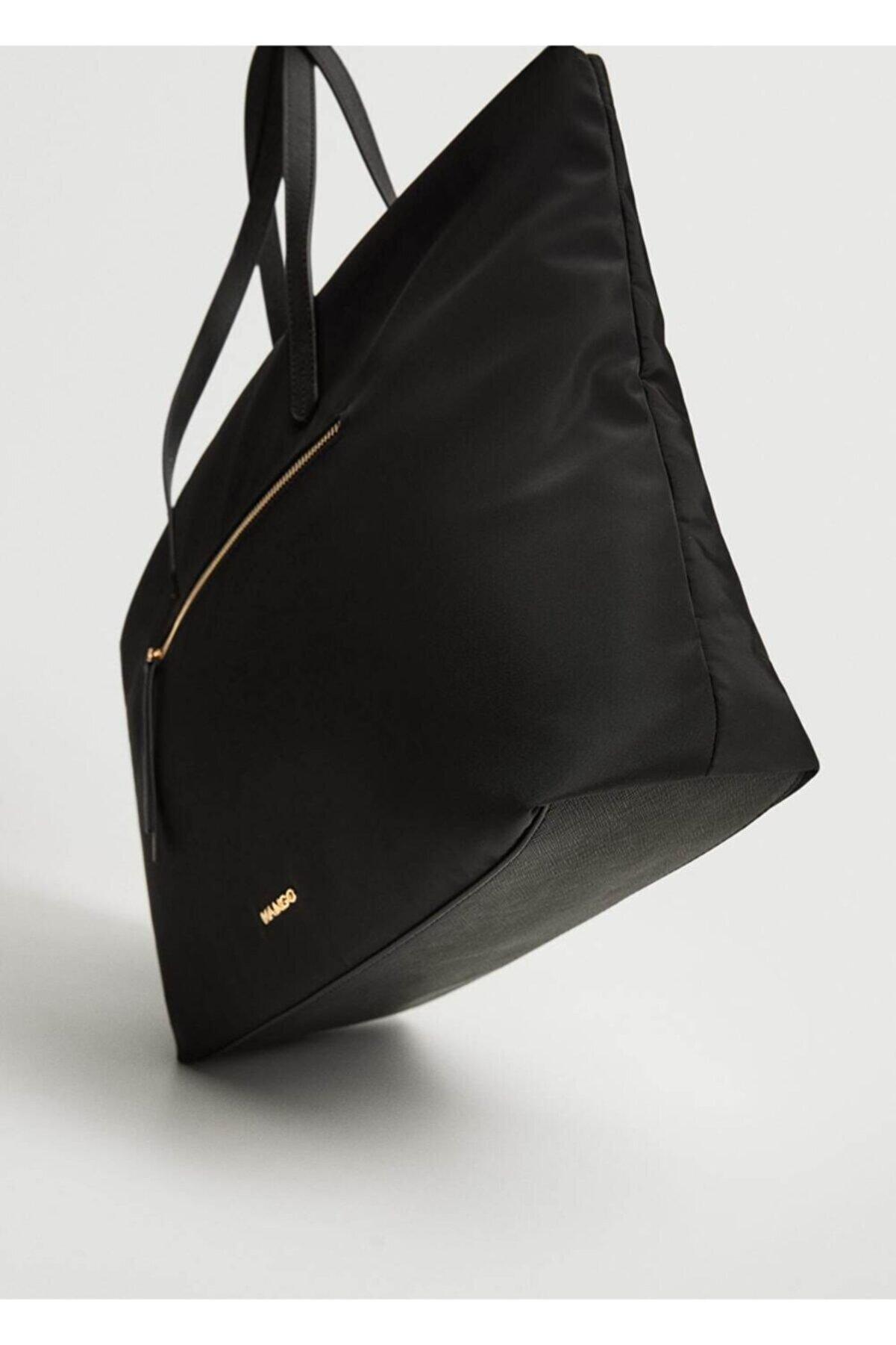 Mango Kadın Siyah Cepli Shopper Çanta
