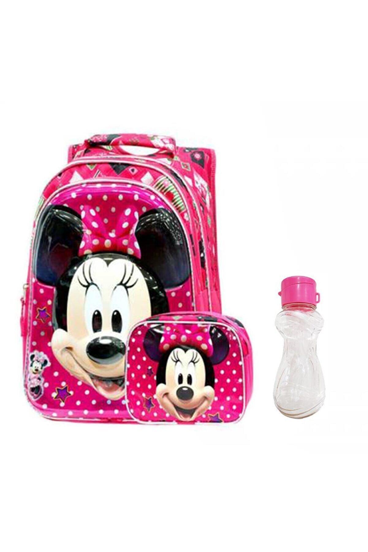Mashotrend Kız Çocuk Pembe Minnie Mouse Baskılı Ortopedik İlkokul Çantası Beslenme Çantası ve Suluk