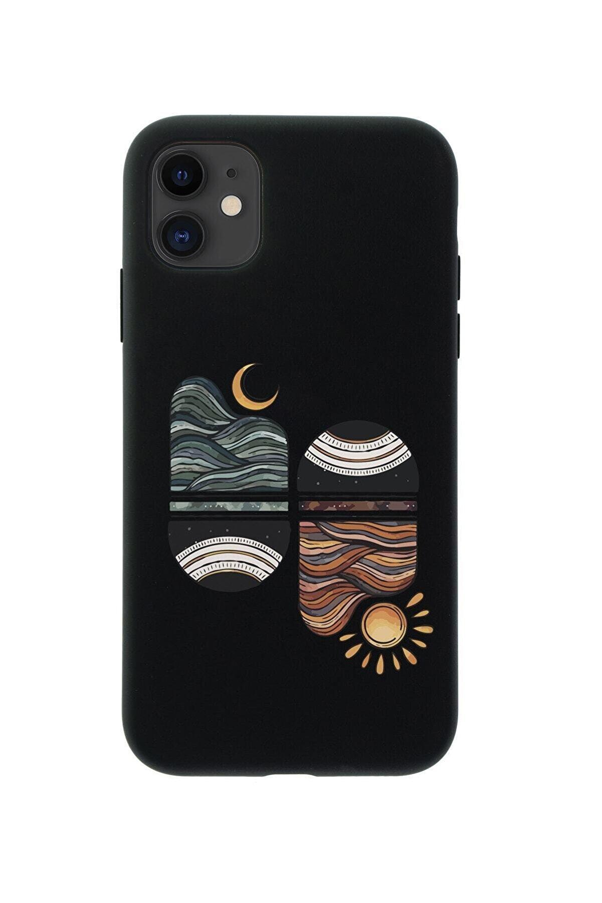 mooodcase Iphone 11 Uyumlu Sunset Wave Premium Silikonlu Siyah Telefon Kılıfı