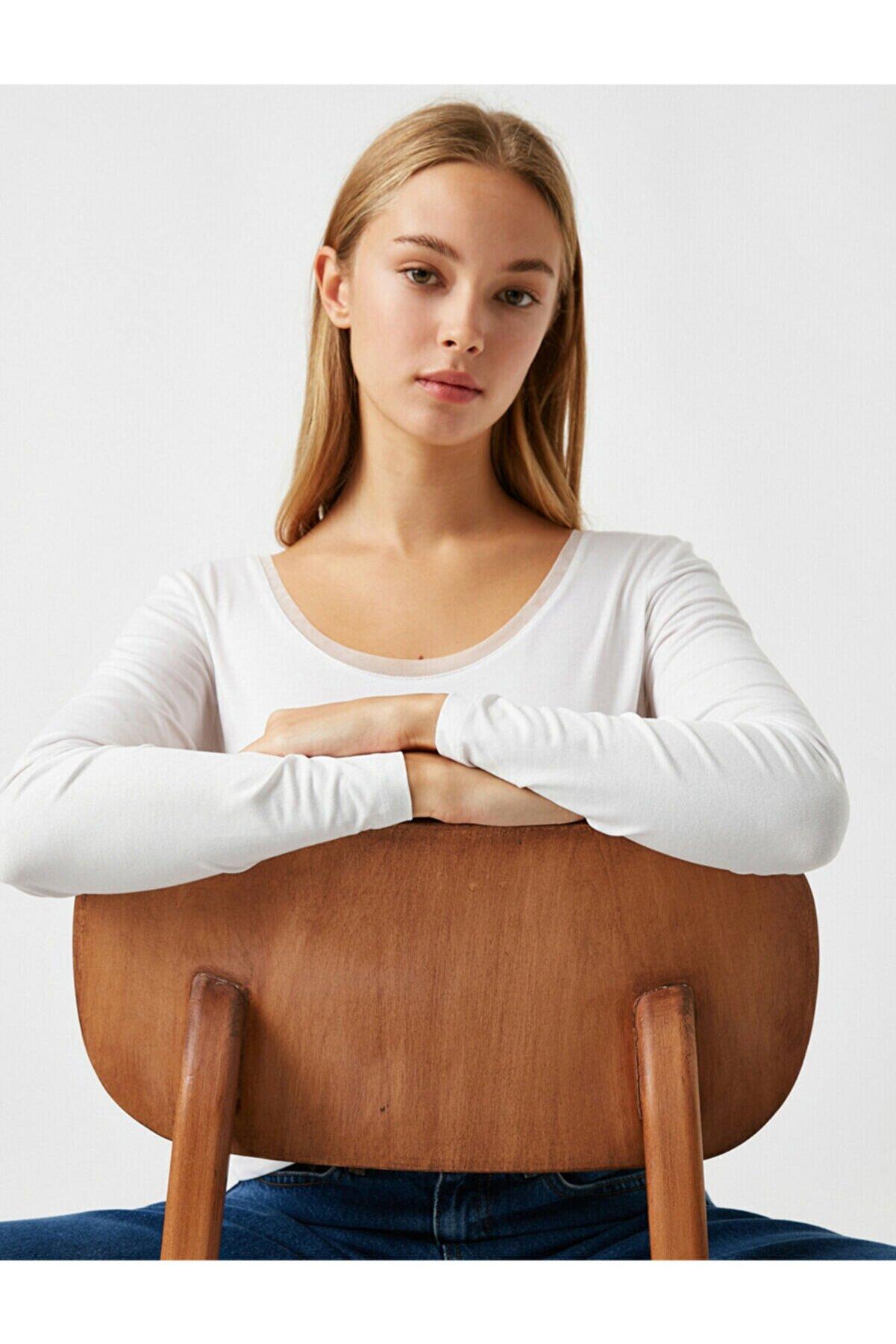 Koton Kadın Beyaz Tül Detaylı Yuvarlak Yaka Uzun Kollu Tişört