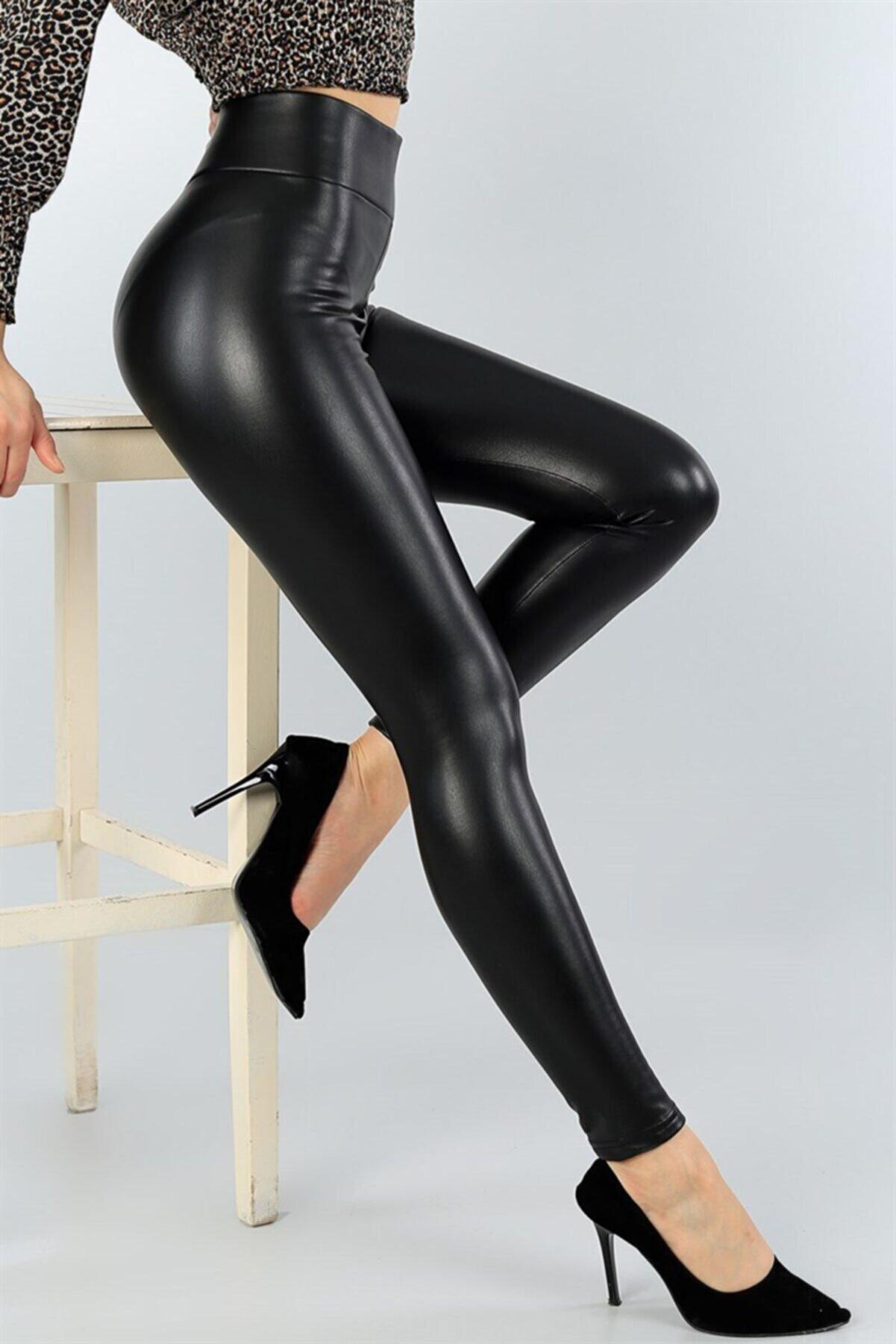 bayansepeti Kadın Siyah Esnek Suni Deri Yüksek Bel Deri Pantolon
