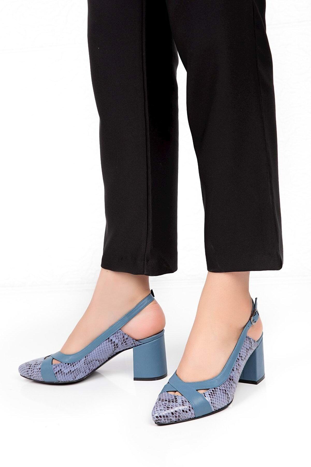 Gondol Hakiki Deri Yılan Desen Ayrıntılı Topuklu Ayakkabı Şhn.0738 - Mavi - 39