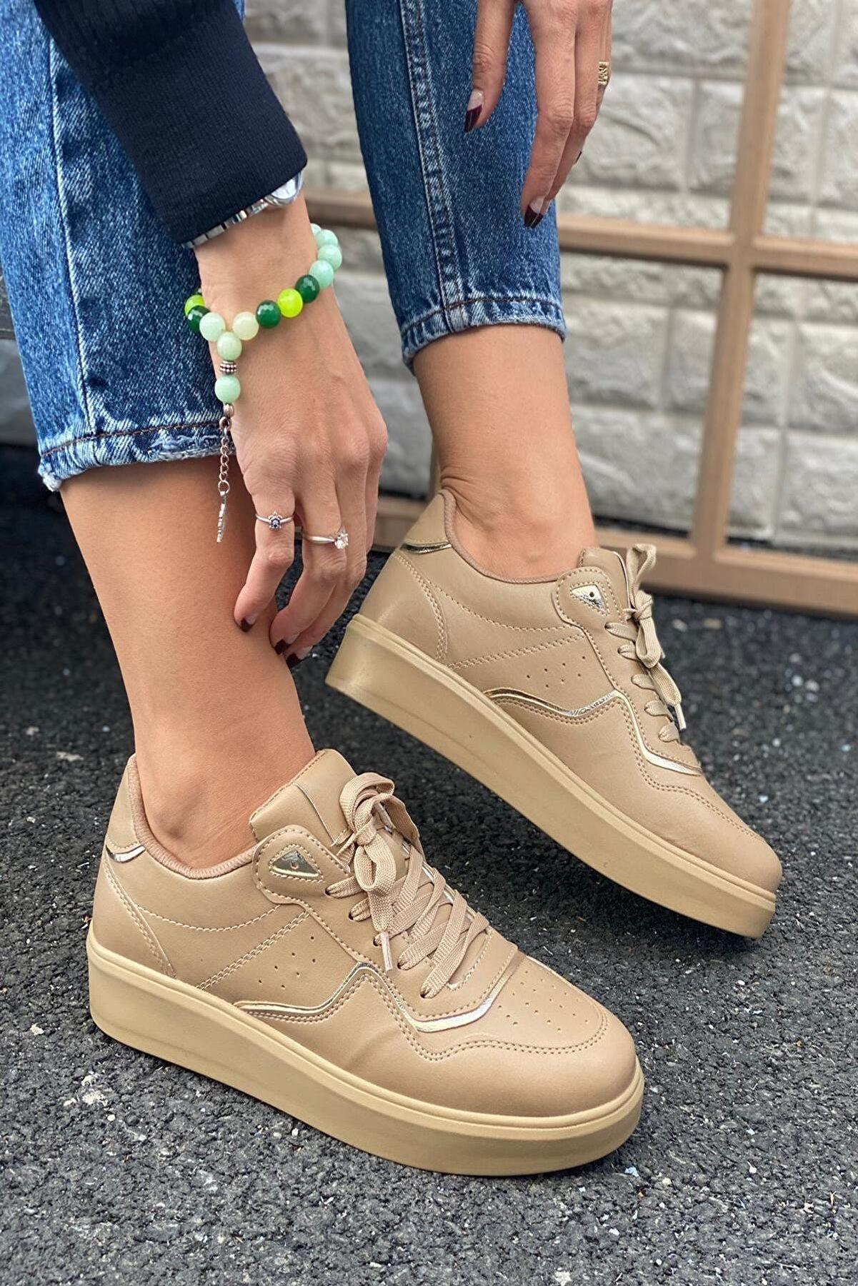 İnan Ayakkabı Kadın Bej Delik Detaylı Ve Parça Şeritli Sneaker