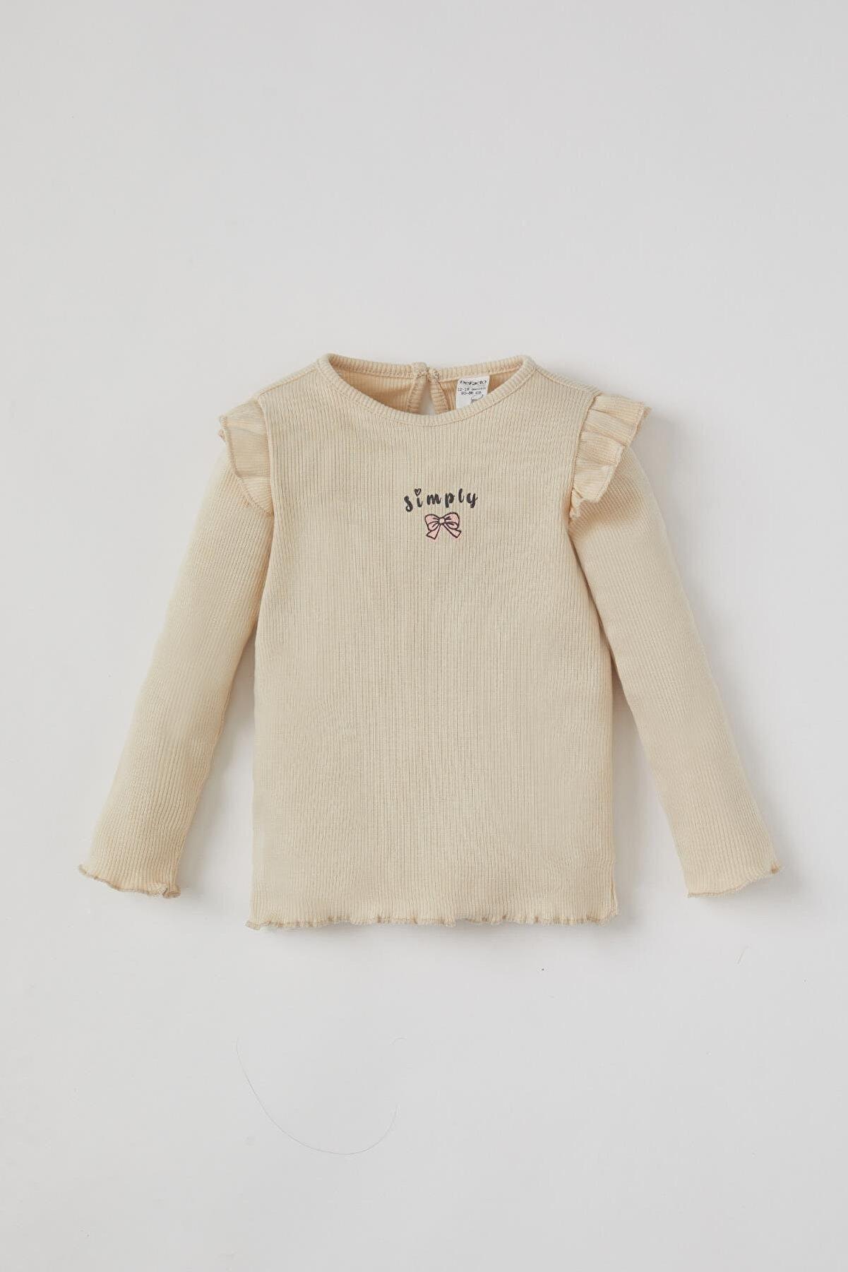 Defacto Kız Bebek Çiçek Baskılı Uzun Kollu Fitilli Tişört