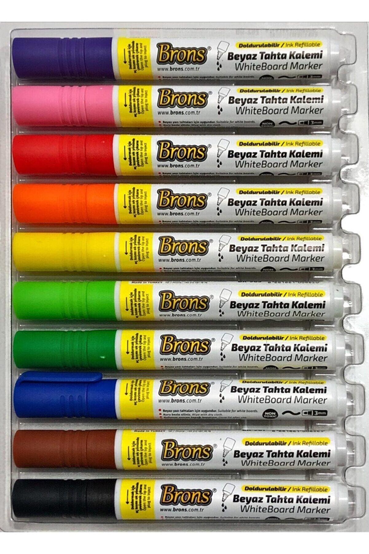 Brons Doldurulabilir Beyaz Tahta Kalemi 10 Renk Set