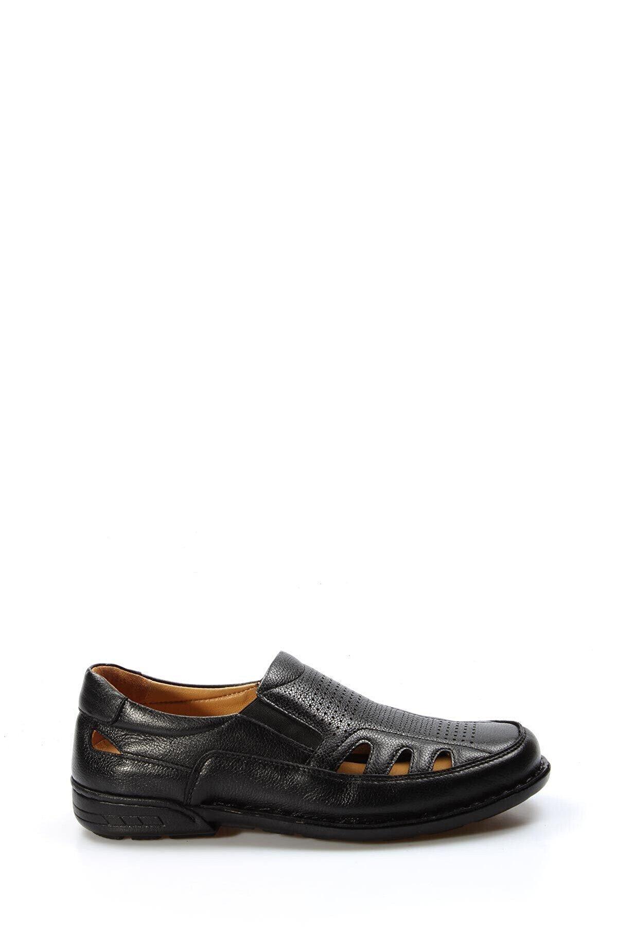Fast Step Hakiki Deri Ortopedik Siyah Erkek Klasik Sandalet 662ma118kt