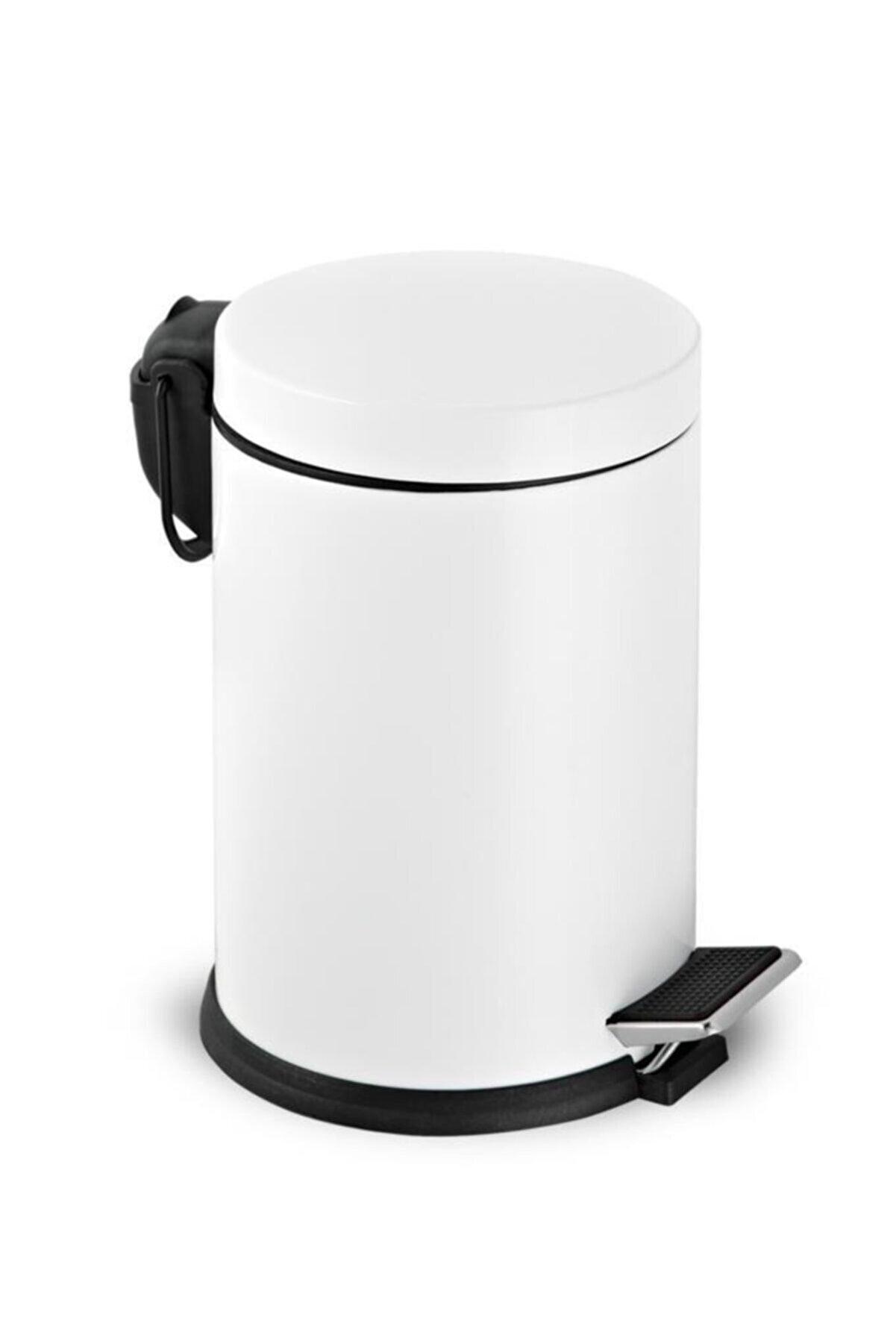 Foreca Beyaz Renkli Pedallı Çöp Kovası 5 Lt