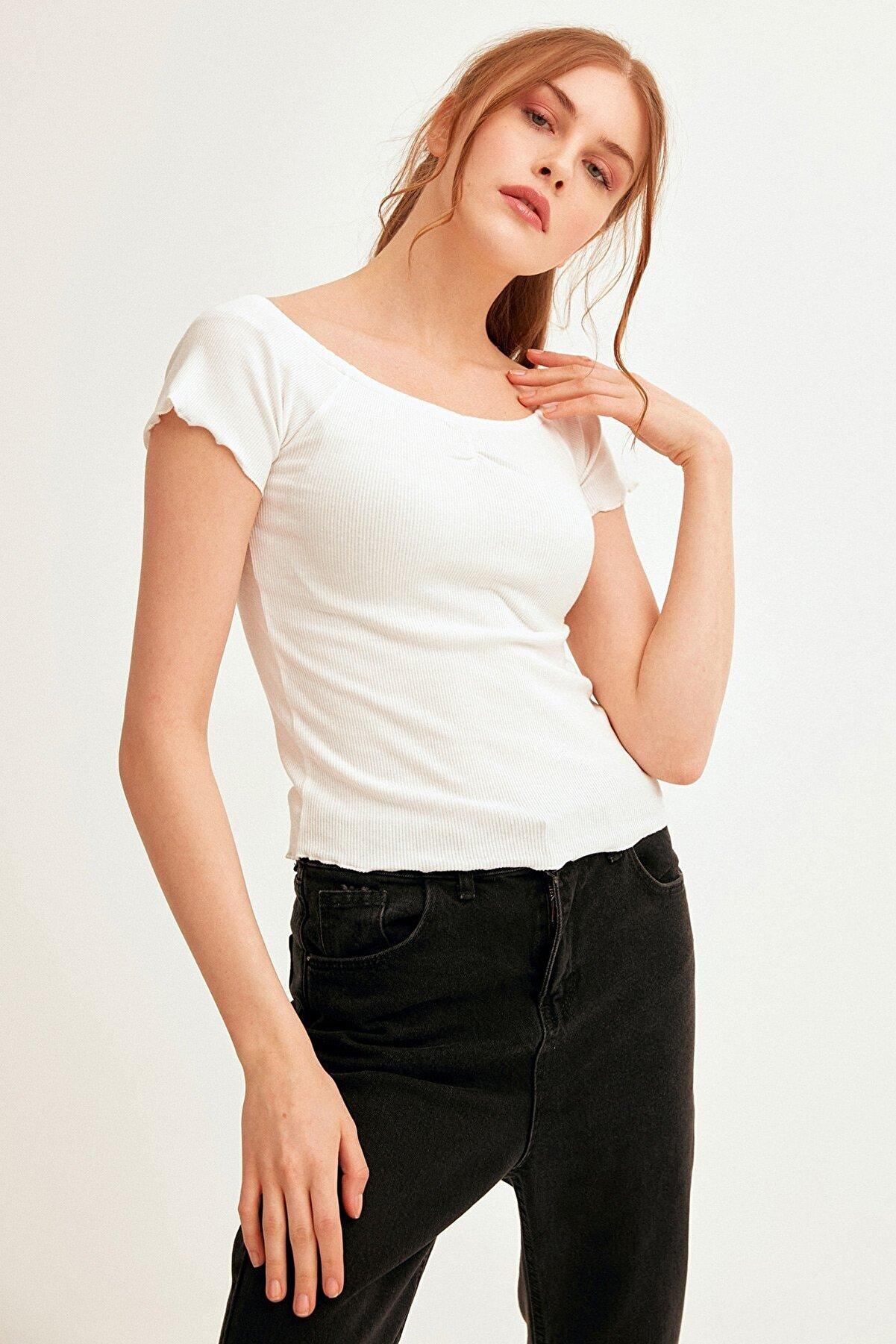 Fullamoda Kadın Düşük Omuz Fitilli Bluz