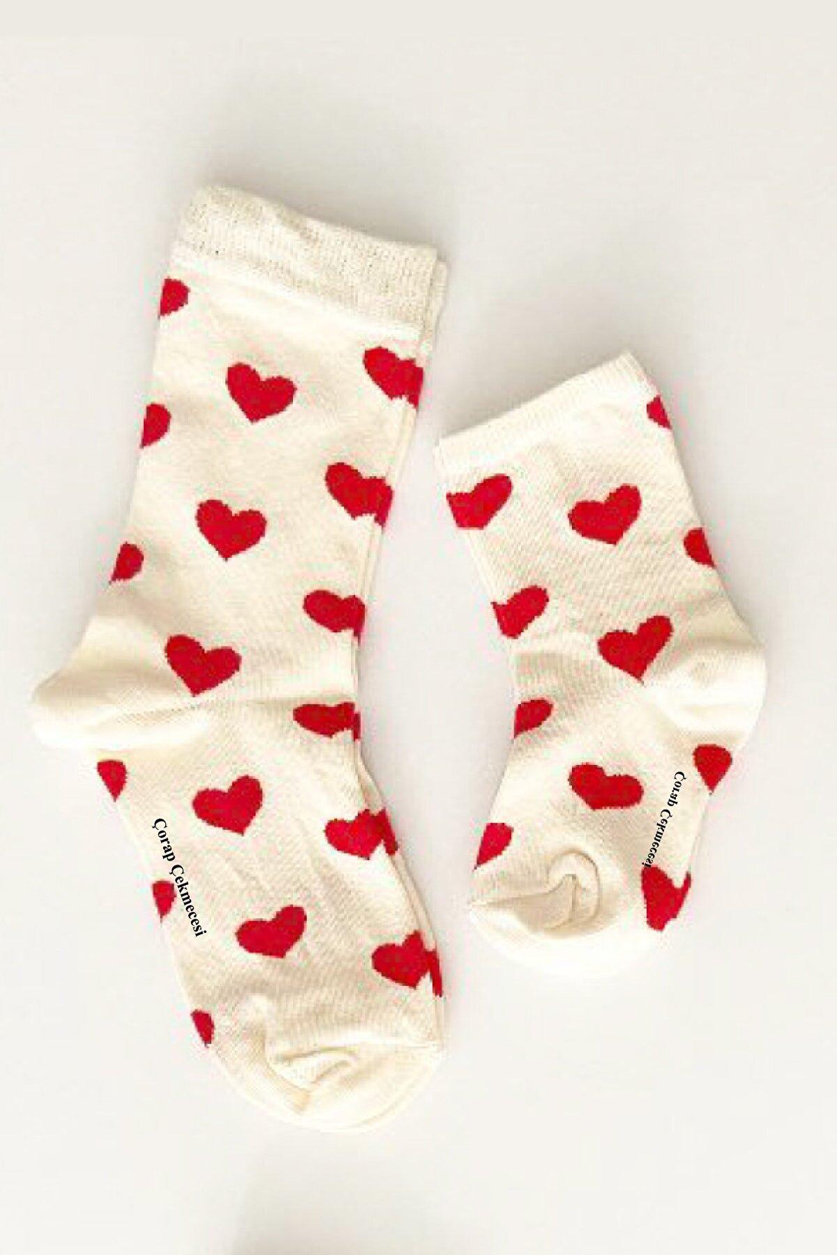Çorap Çekmecesi Anne Bebek Çorap Kombini Kalp Ekru-kırmızı