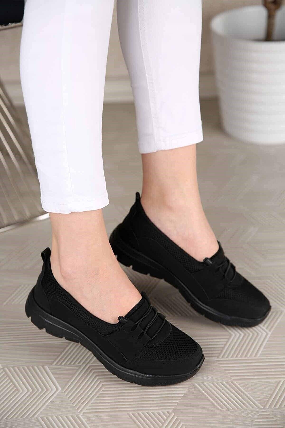 MODA SEVİLEN Kadın Siyah Zincirli Kalın Kabanlı Loafer Ayakkabı