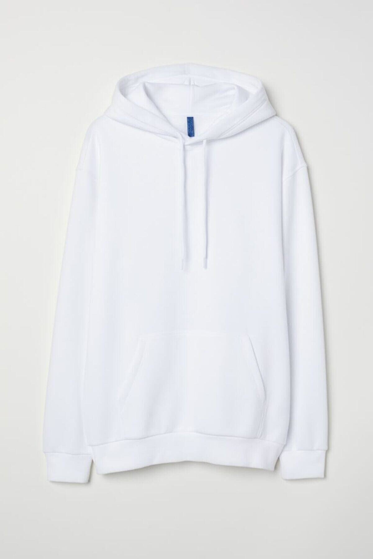 Unero Unisex Beyaz Kapüşonlu Kangru Cep Oversize Sweatshirt