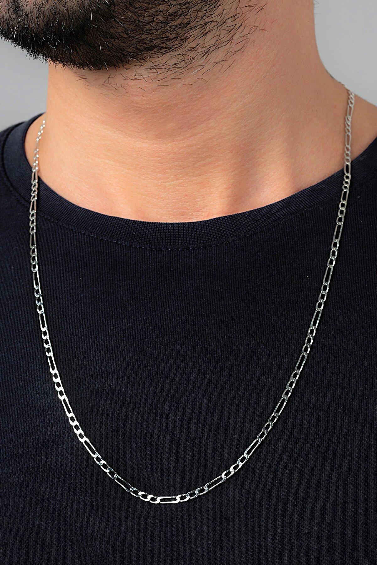 Ventino Silver Figaro 925 Ayar Gümüş Erkek Zincir Kolye Vek-3025