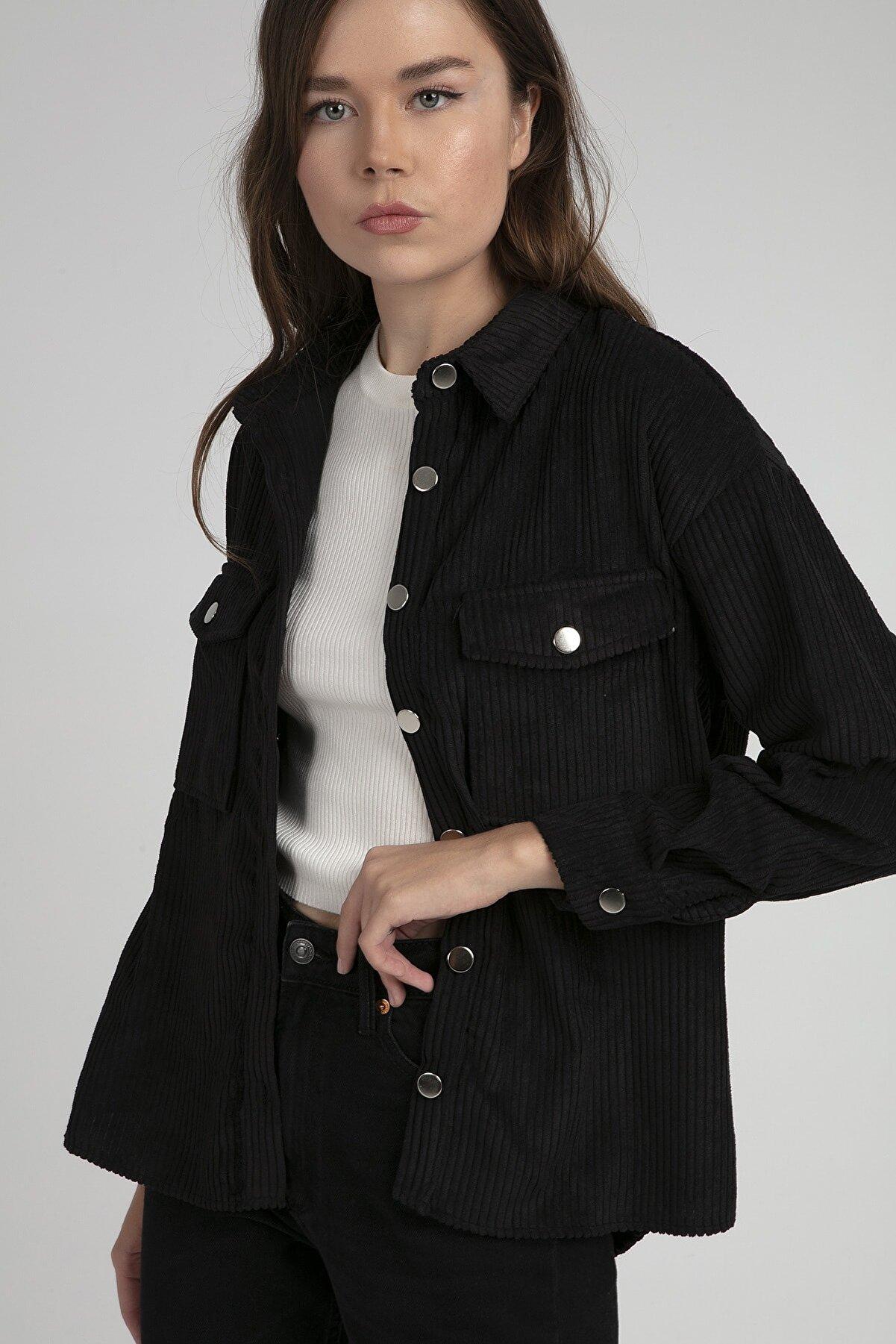 Pattaya Kadın Fitilli Kadife Gömlek P20w110-5683
