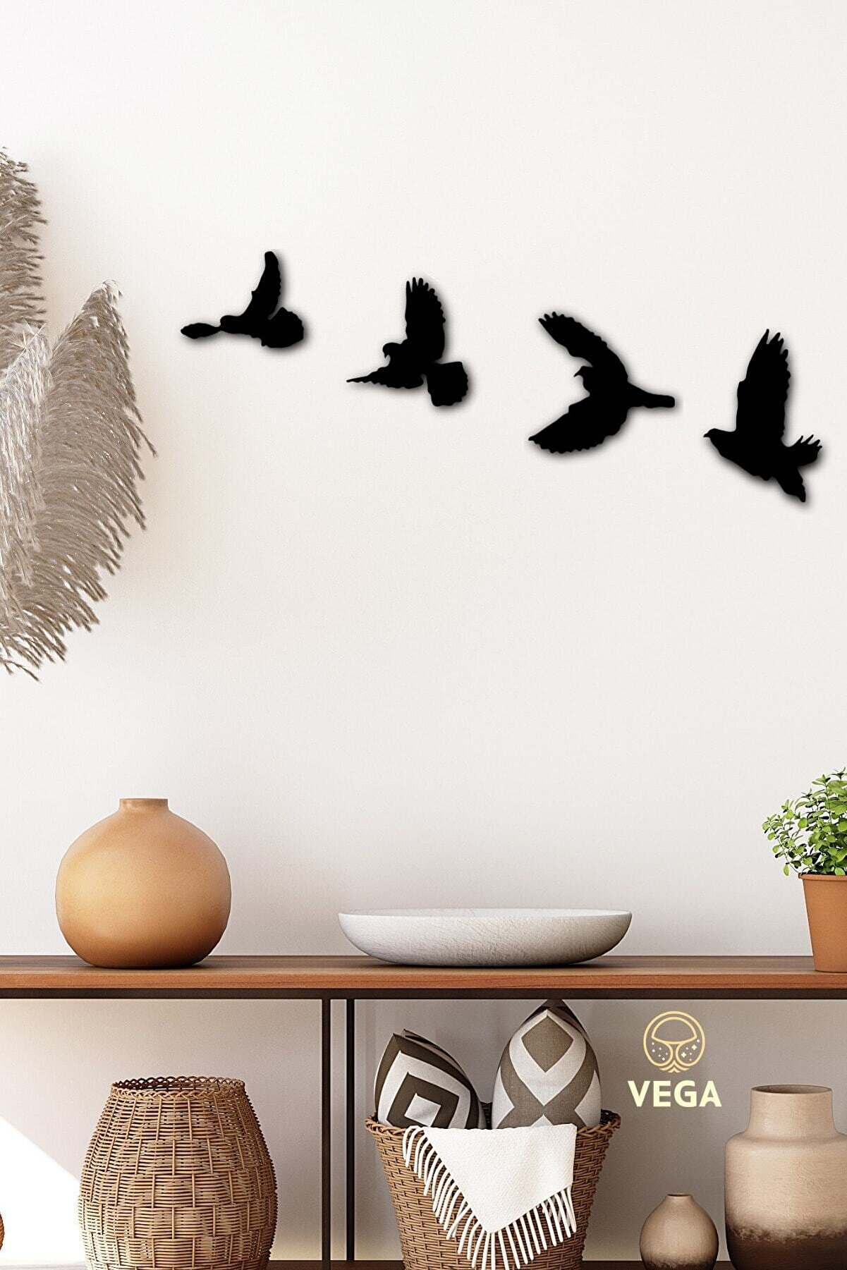 VegaDesign Dekoratif Modern Dörtlü Kuş Duvar Süsü