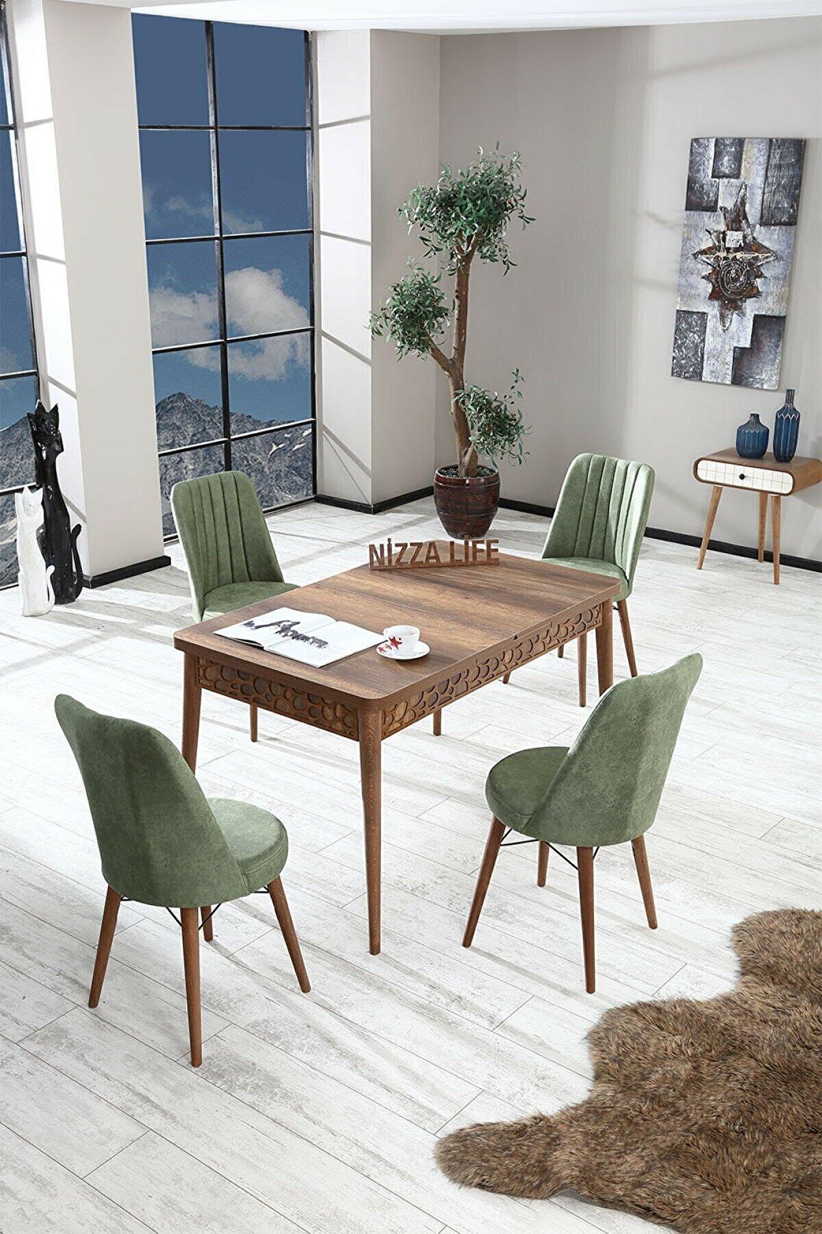Alıcıoğlu Avm Nossa Mini Barok Ceviz Yemek Masası Mutfak Masası Açılır Masa Takımı 4 Sandanyeli - Haki Yeşili