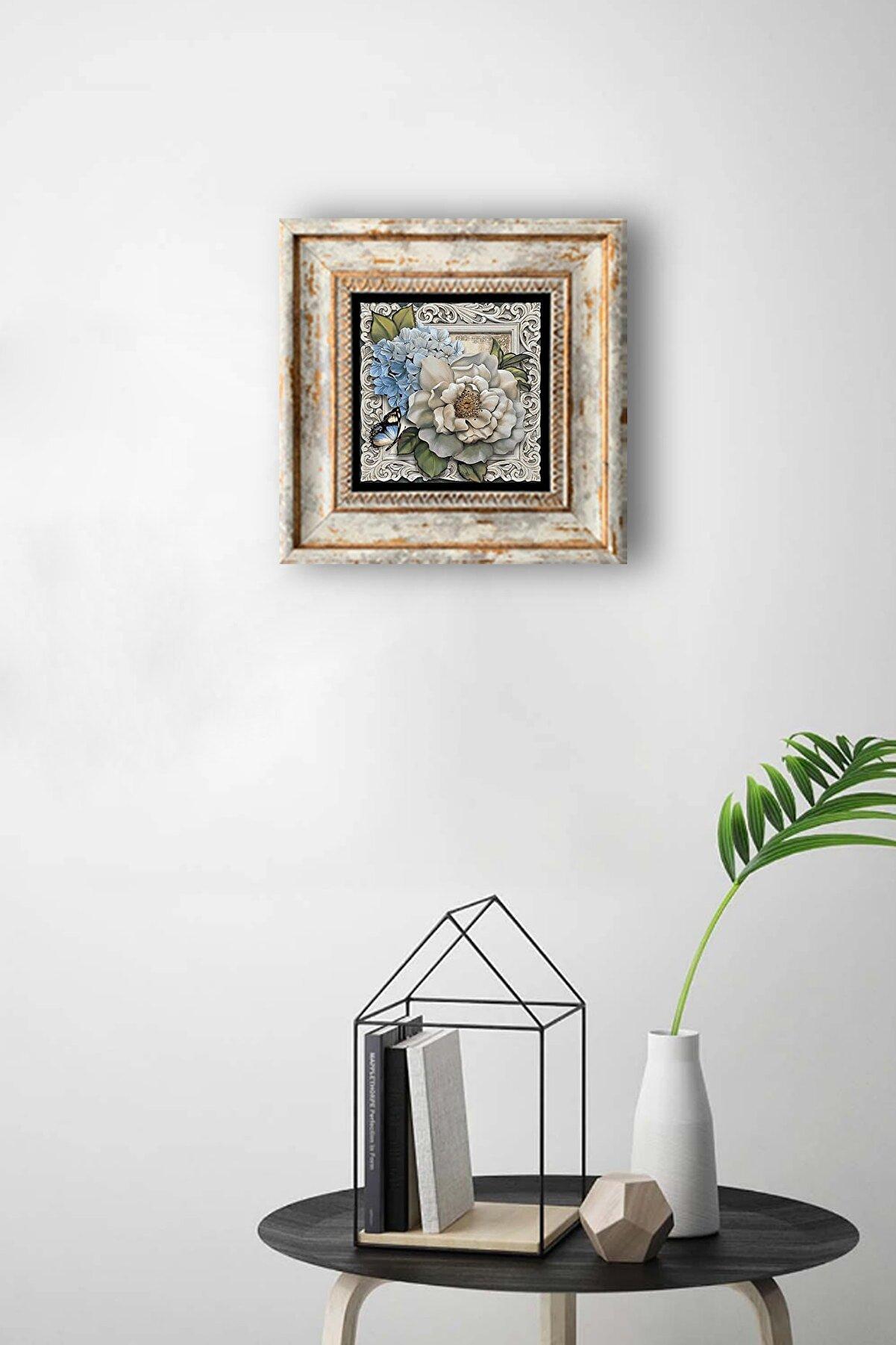 indirimliMis Doğal Taş Tablo Çerçeveli Duvar Dekoru Kelebekli Çiçek Özel Baskılı Pano 20x20 cm Framed Wall Decor