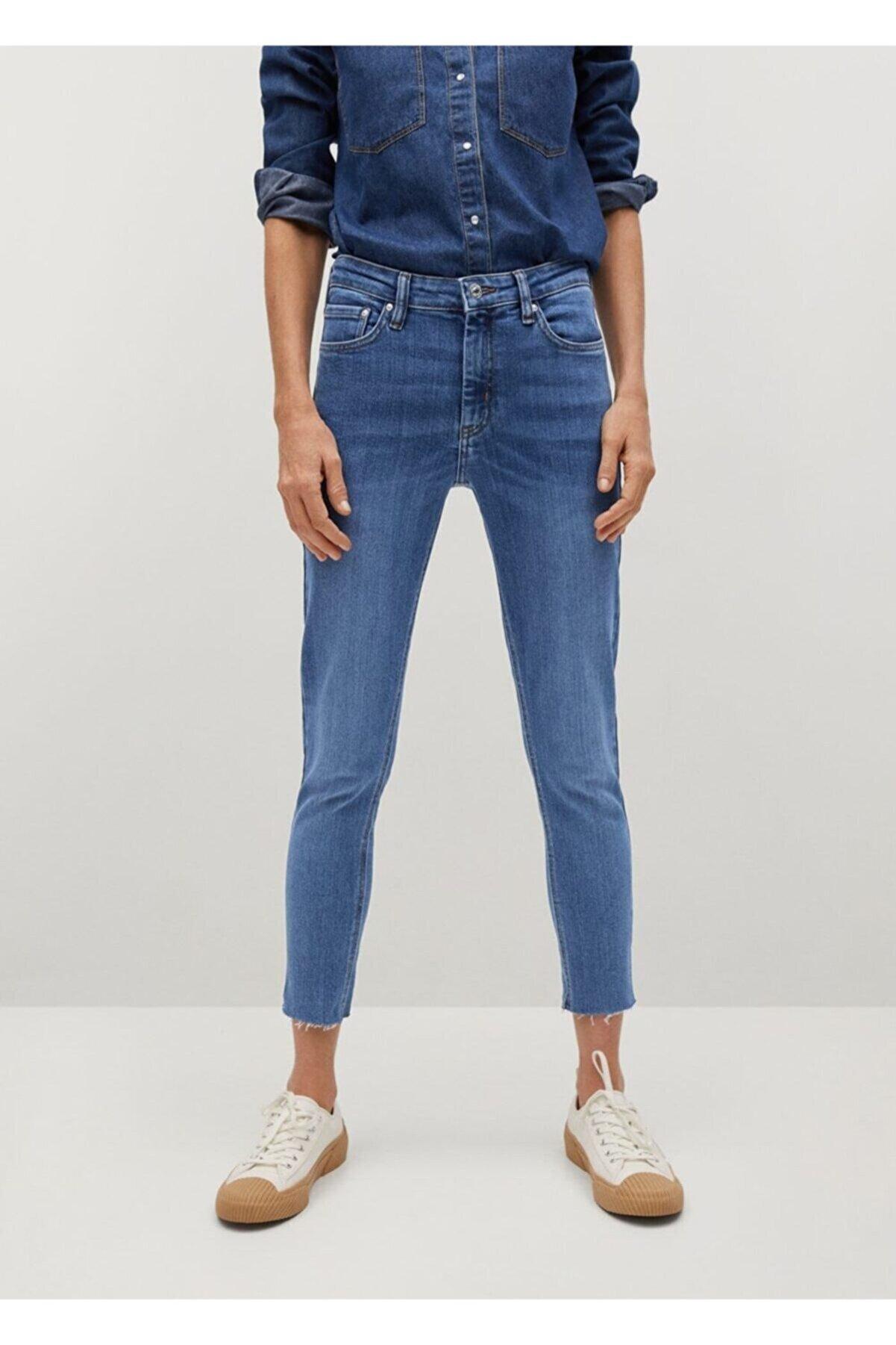 Mango Kadın Donuk Mavi Kısa Paçalı Skinny Isa Jean Pantolon